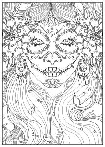 Coloriage femme jour des morts