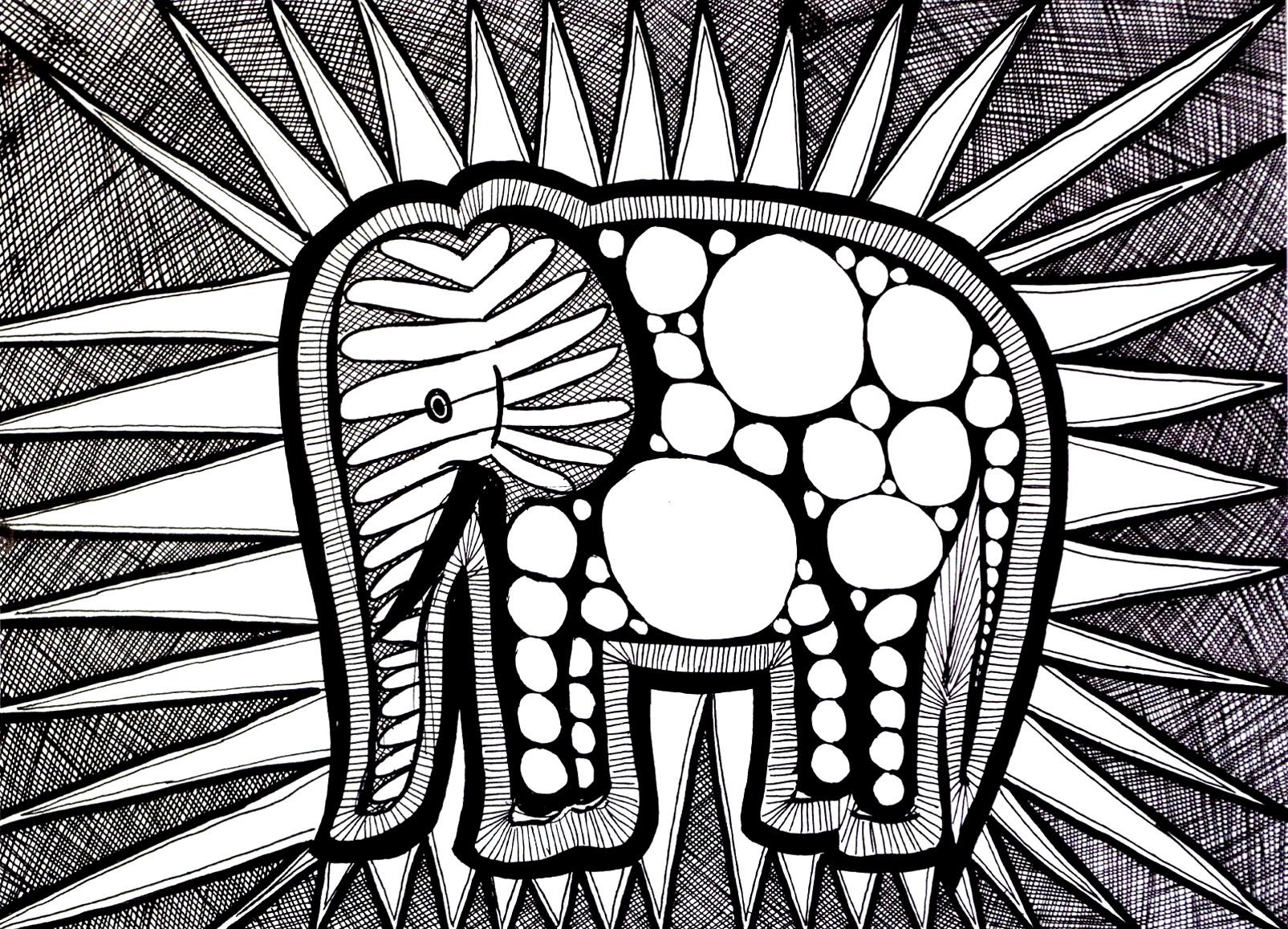 Coloriage adulte difficile d'un éléphant, composé de nombreuses formes et motifs diversifiés. Beaucoup de zones à colorier, avec feutres fins de préférence ! (Source : http://chez-melba.blogspot.com)