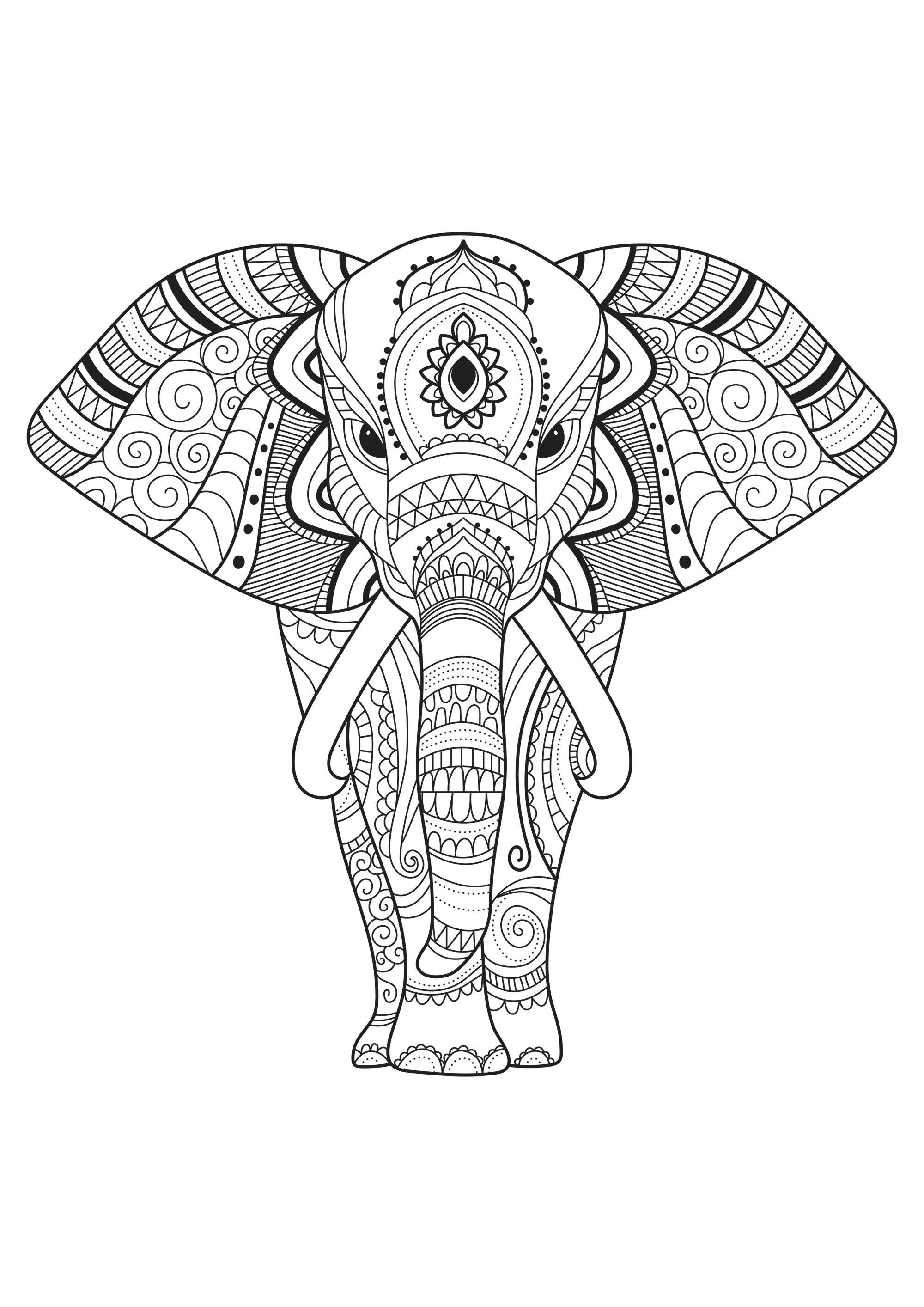 De simples motifs à colorier au sein de ce majestueux éléphant. Fourni par le site Gifts.com