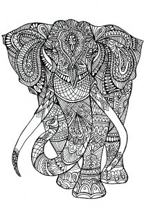 Coloriage adulte anima gros elephant