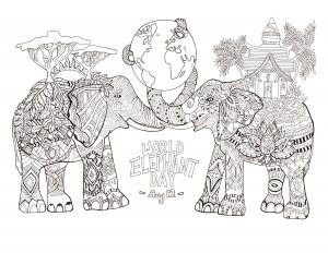 Coloriage adulte jour mondial des elephants