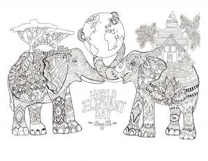 Coloriage A Imprimer Difficile Elephant.Elephants Coloriages Difficiles Pour Adultes