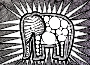 Coloriage difficile elephant