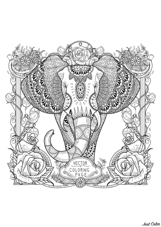 Eléphant à coloriage avec motifs complexes