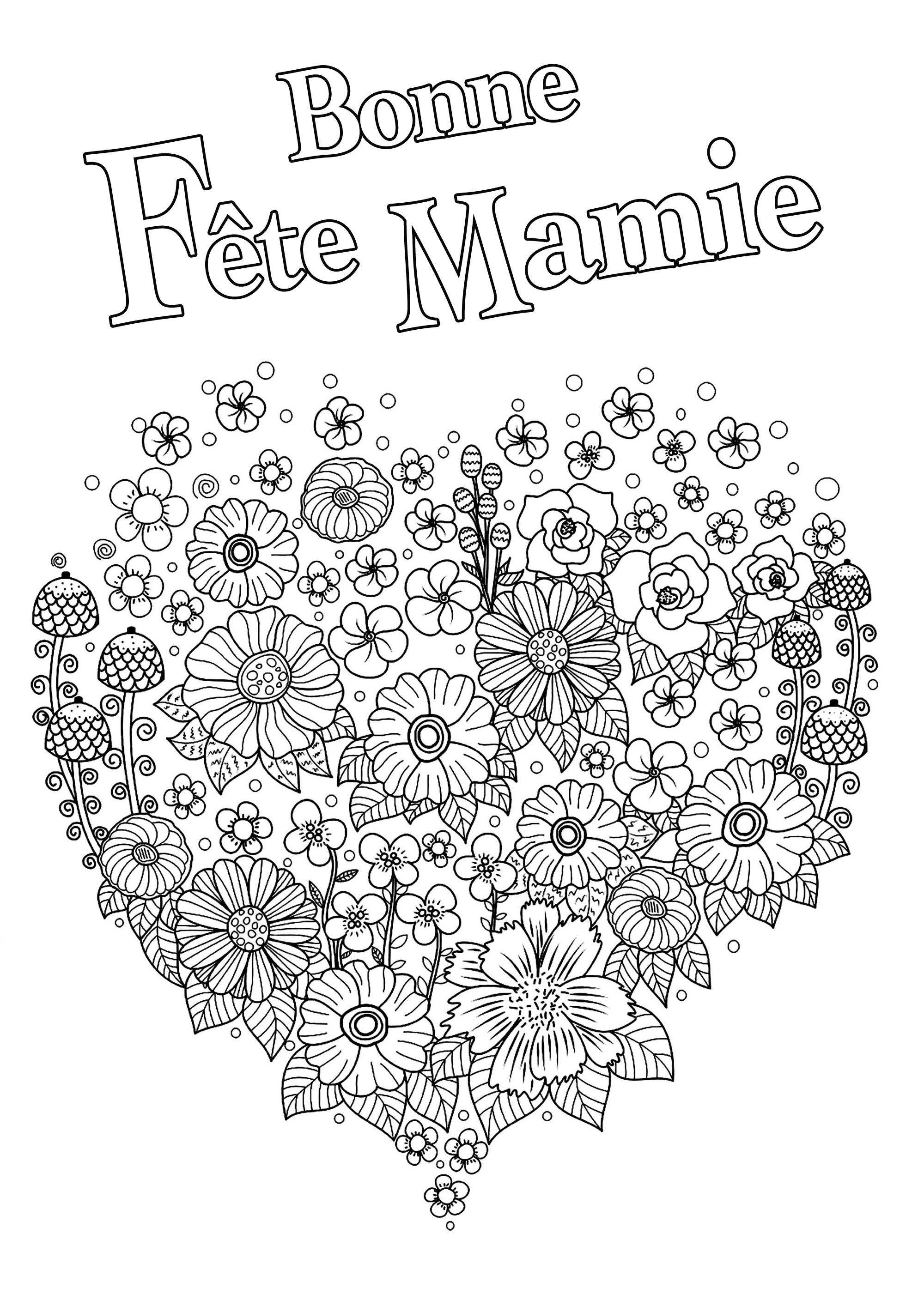 Bonne Fête Mamie : Coloriage avec coeur plein de fleurs