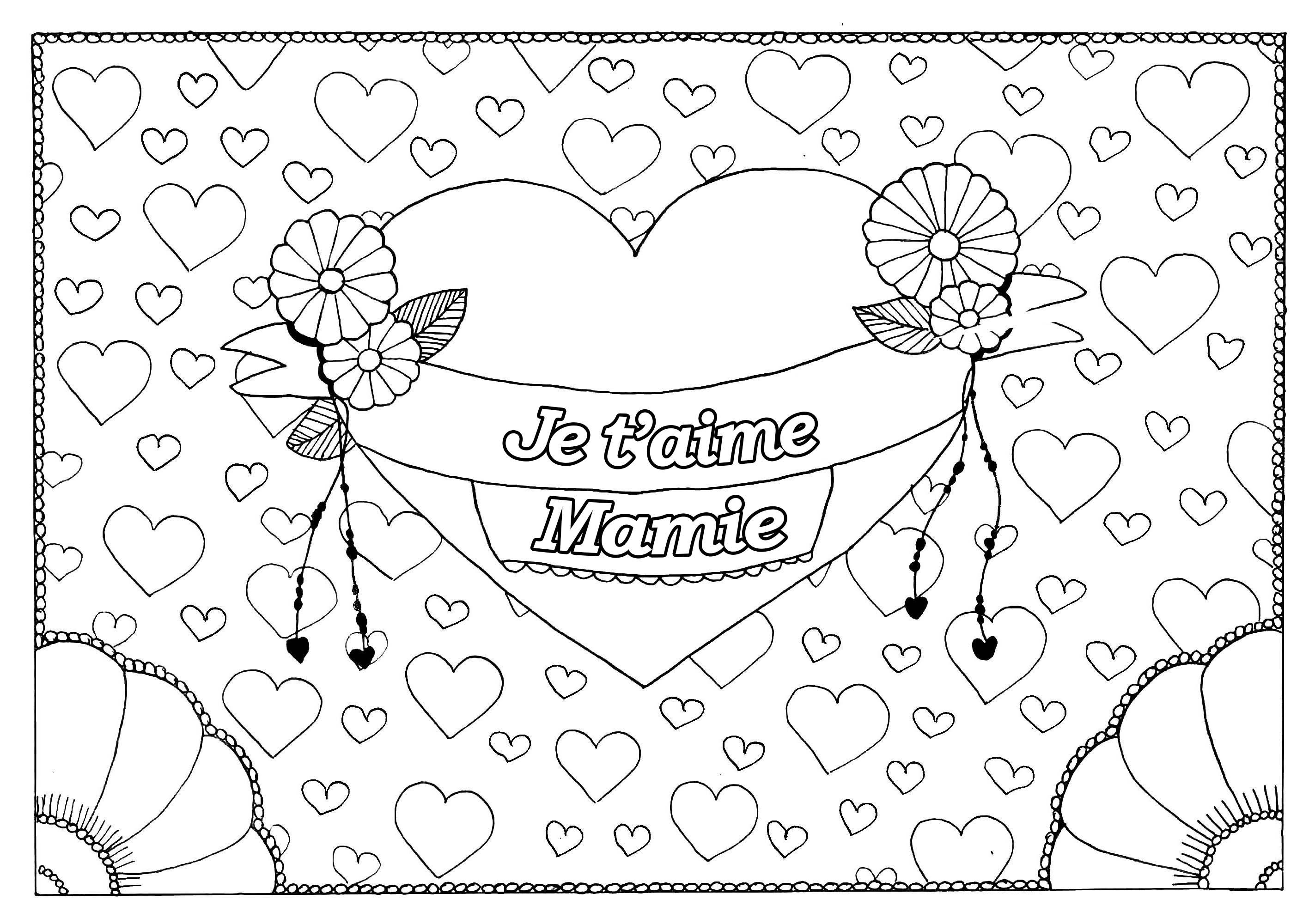 Coloriage spécial Fête des pères : Gros coeur et petits coeurs - Je t'aime Mamie