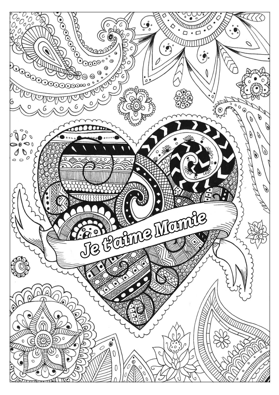 Coloriage spécial Fête des pères : Zentangle - Je t'aime Mamie