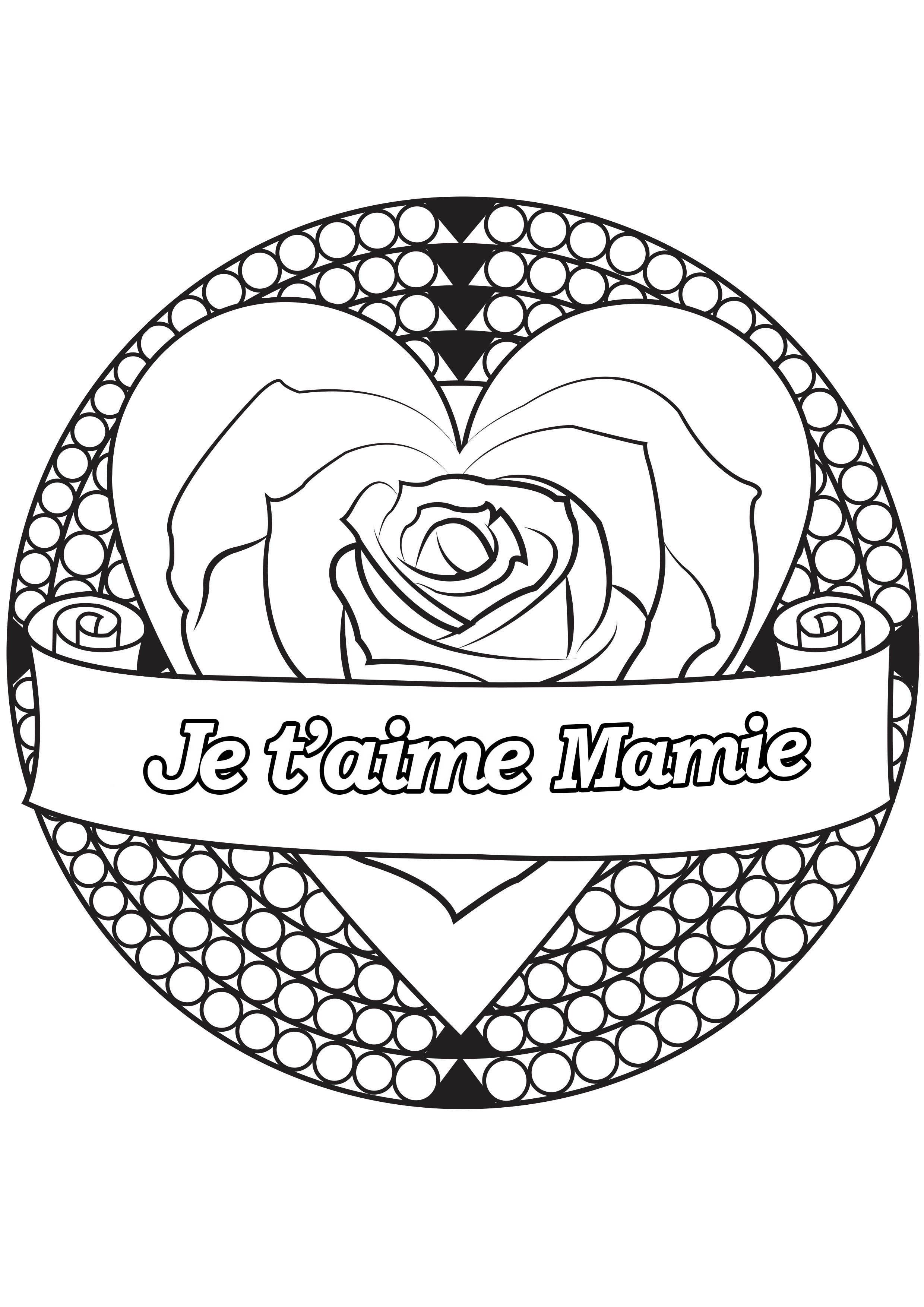 Coloriage spécial Fête des pères : Coeur & rose - Je t'aime Mamie
