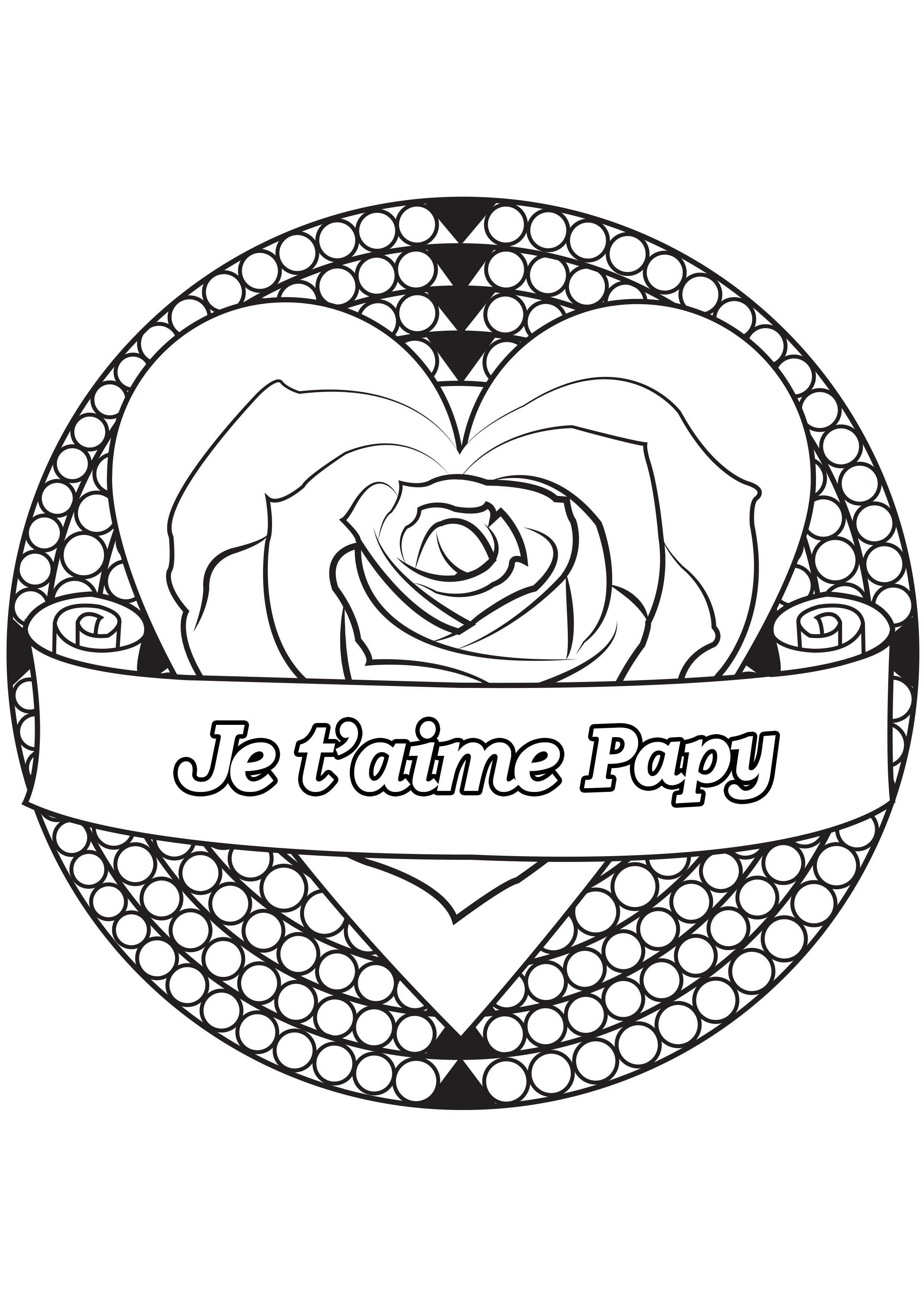Coloriage spécial Fête des pères : Coeur & rose - Je t'aime Papy
