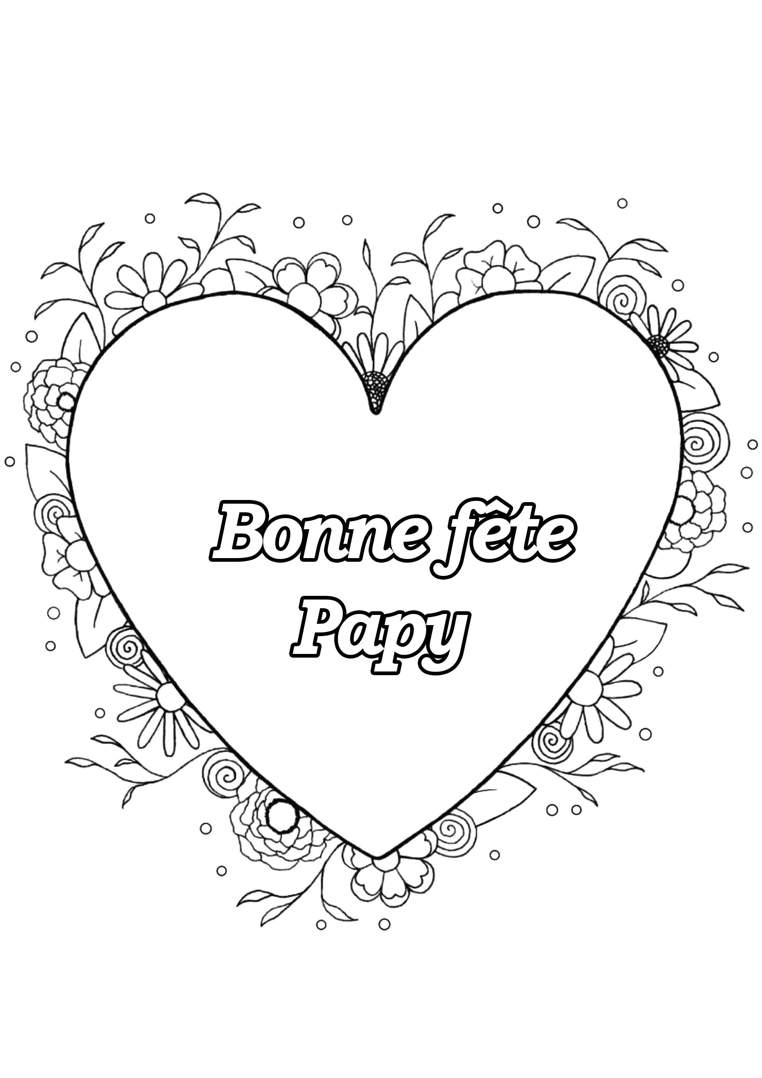 Coloriage spécial Fête des pères : Coeur & fleurs - Bonne fête Papy