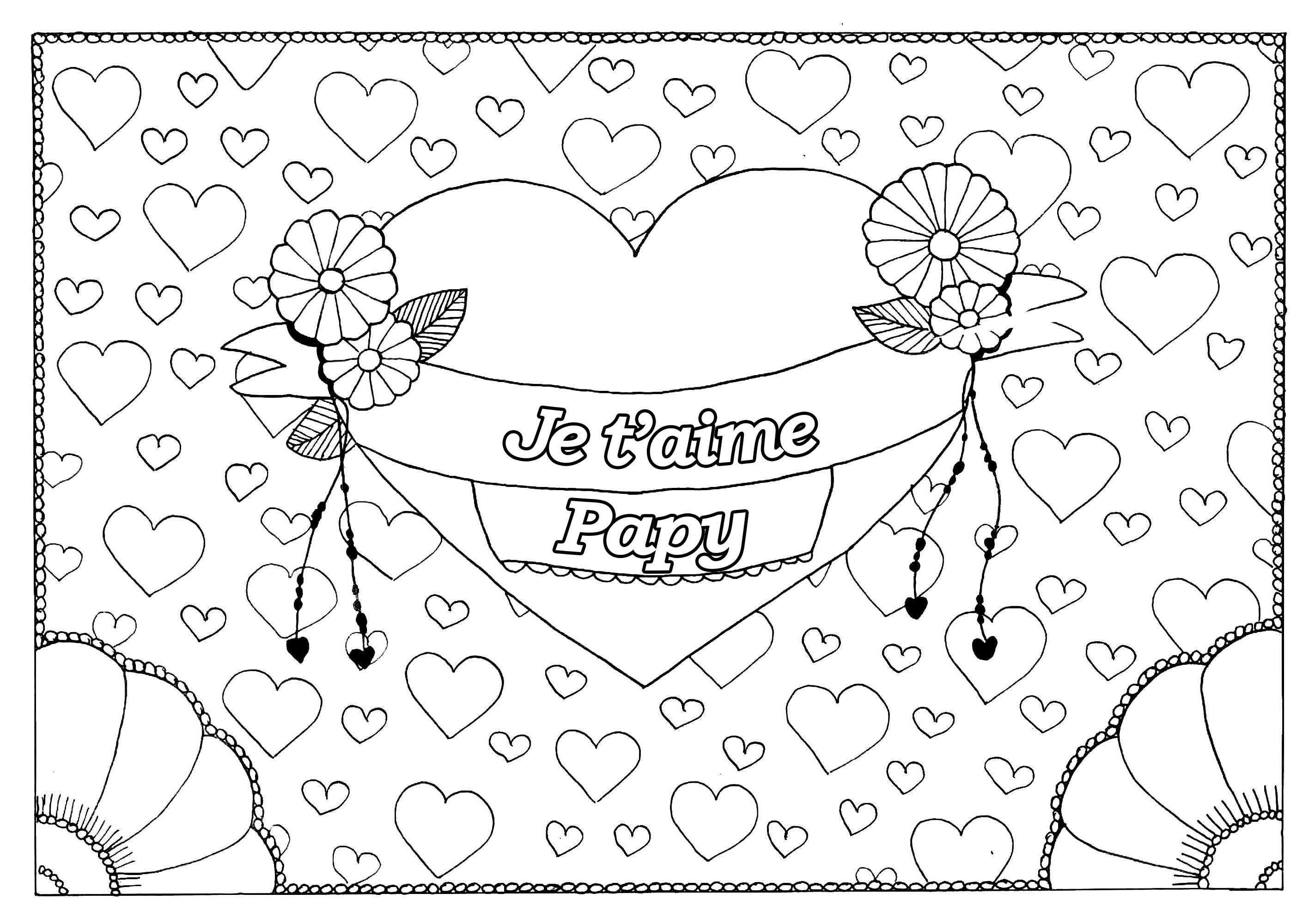 Coloriage spécial Fête des pères : Gros coeur et petits coeurs - Je t'aime Papy