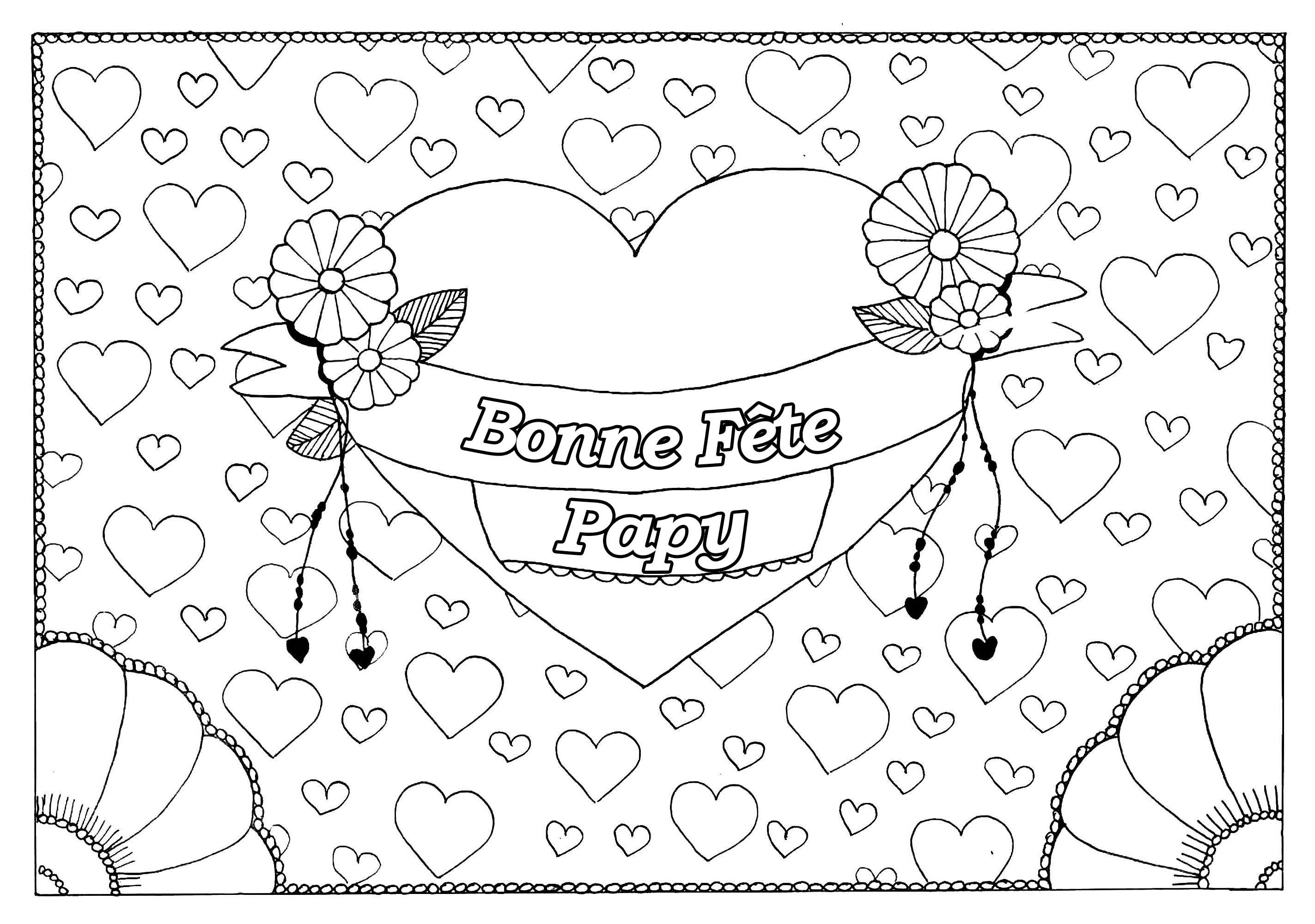 Coloriage spécial Fête des pères : Gros coeur et petits coeurs - Bonne fête Papy