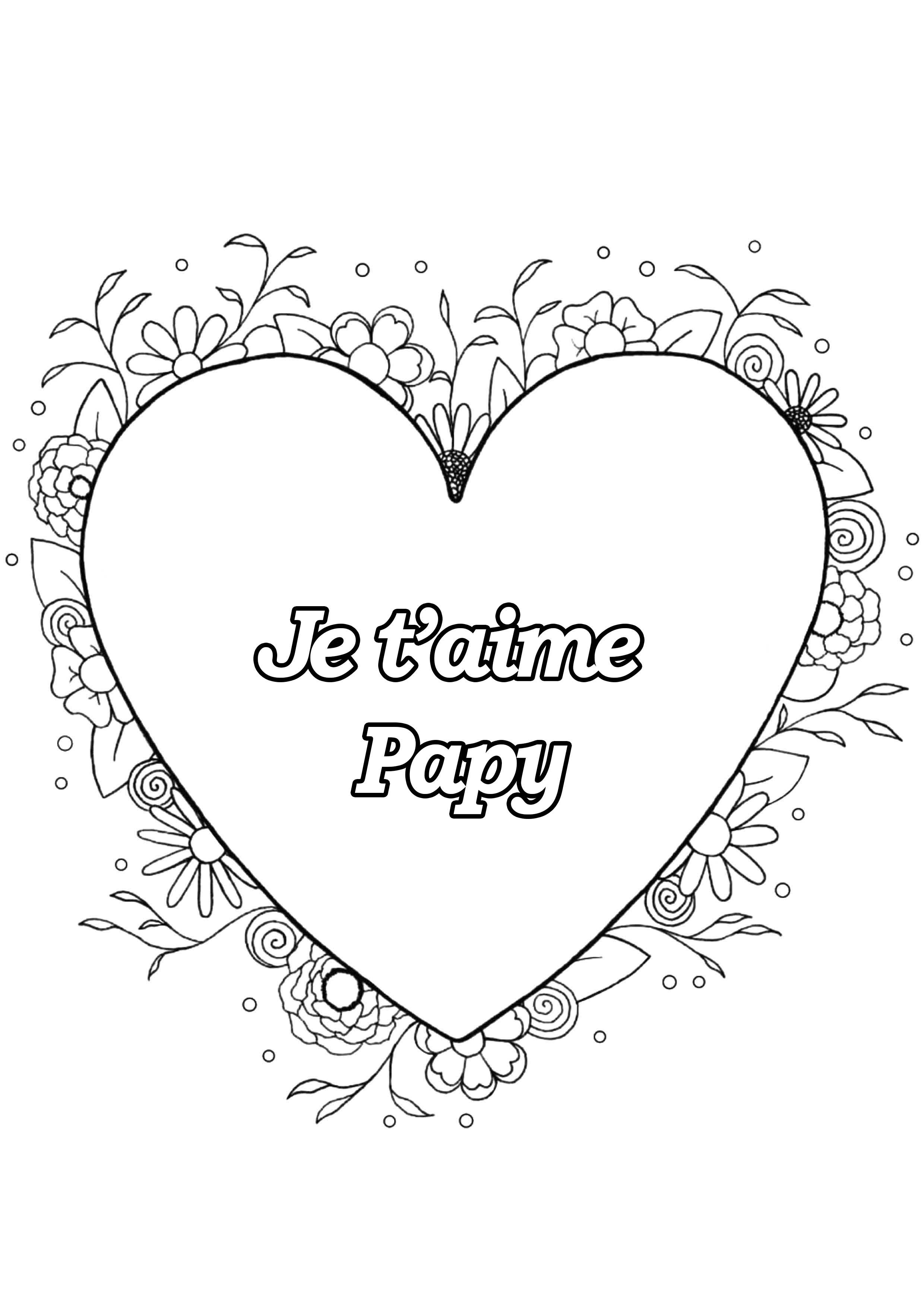 Coloriage spécial Fête des pères : Coeur & fleurs - Je t'aime Papy