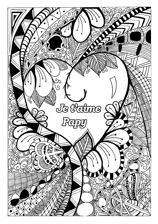 Coloriage spécial Fête des pères : Motifs fleuris - Je t'aime Papy