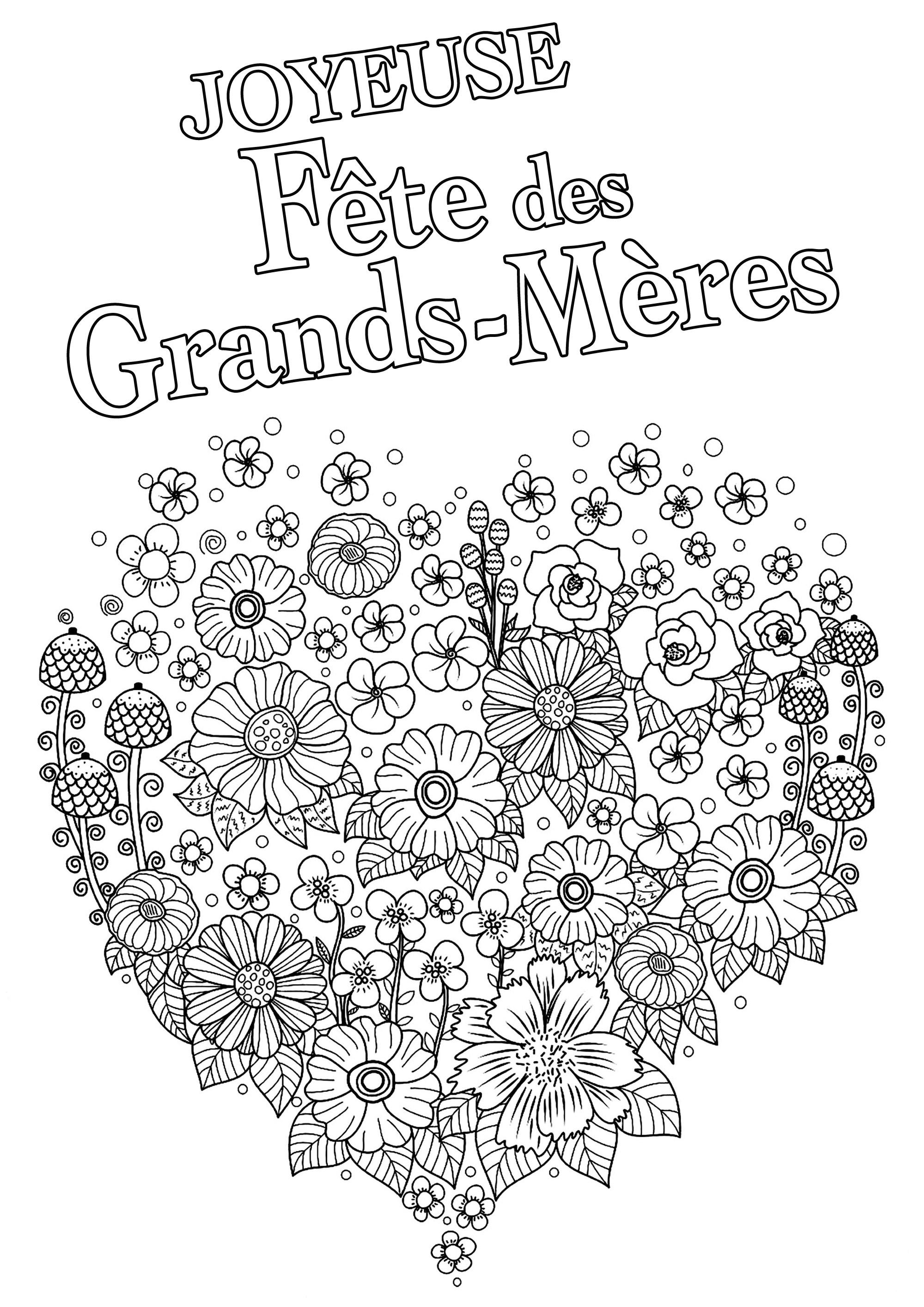 Coloriage Fête des Grands-Mères : Joli coeur plein de fleurs