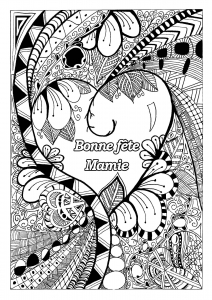 Coloriage fete grand parents mamie 1