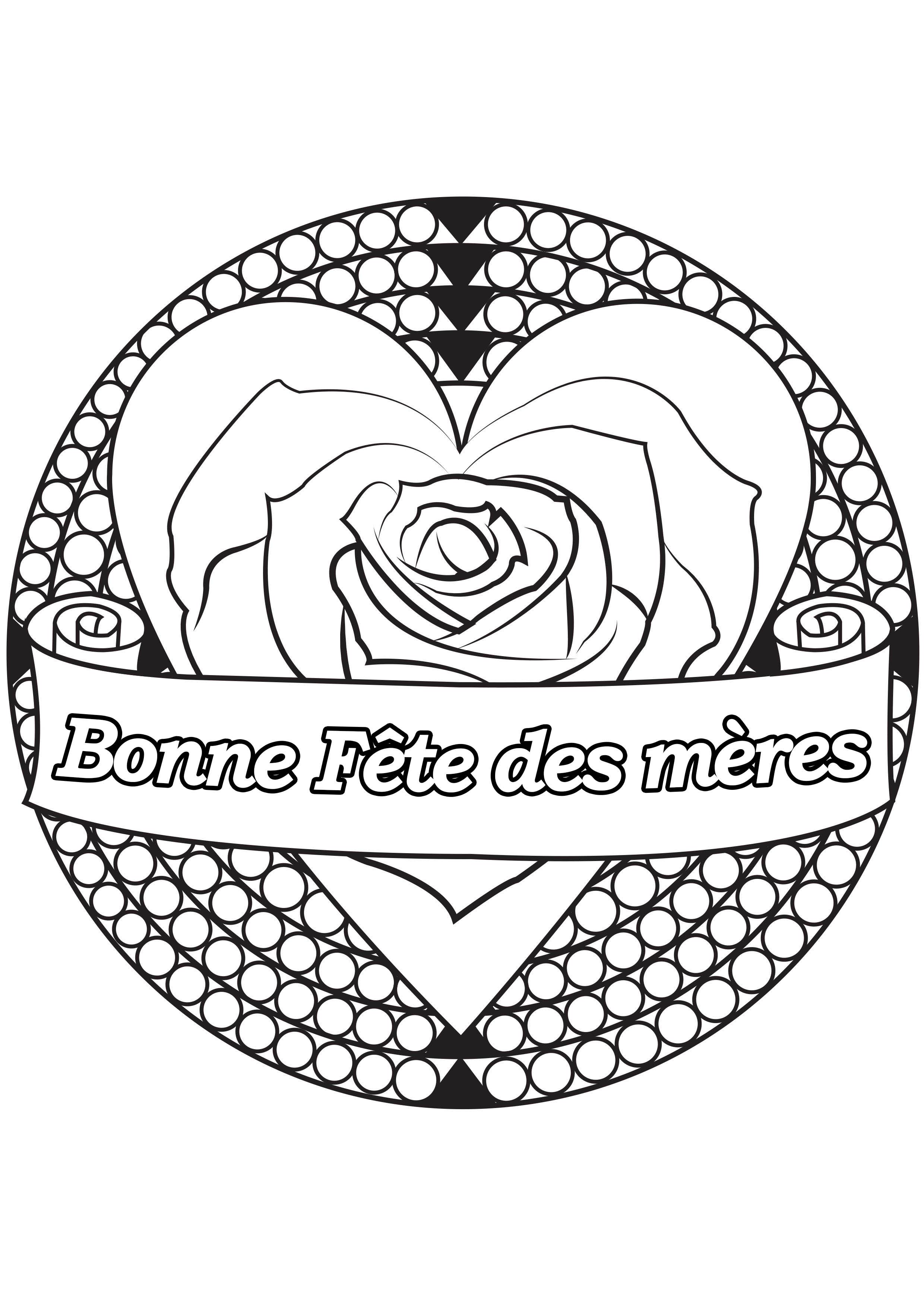 Coloriage spécial Fête des mères : Coeur & rose - 2