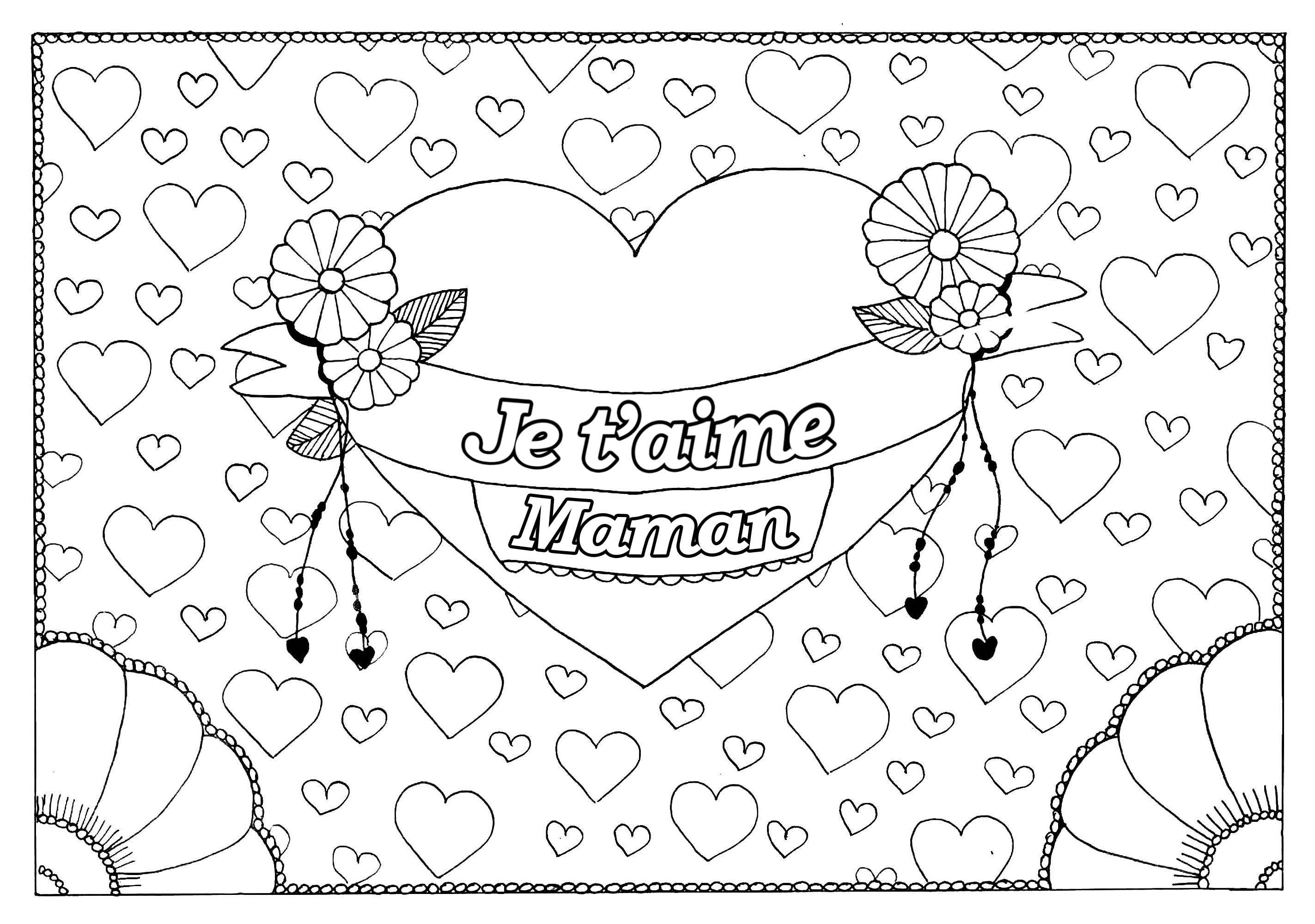 Coloriage spécial Fête des mères : Gros coeur et petits coeurs - 1