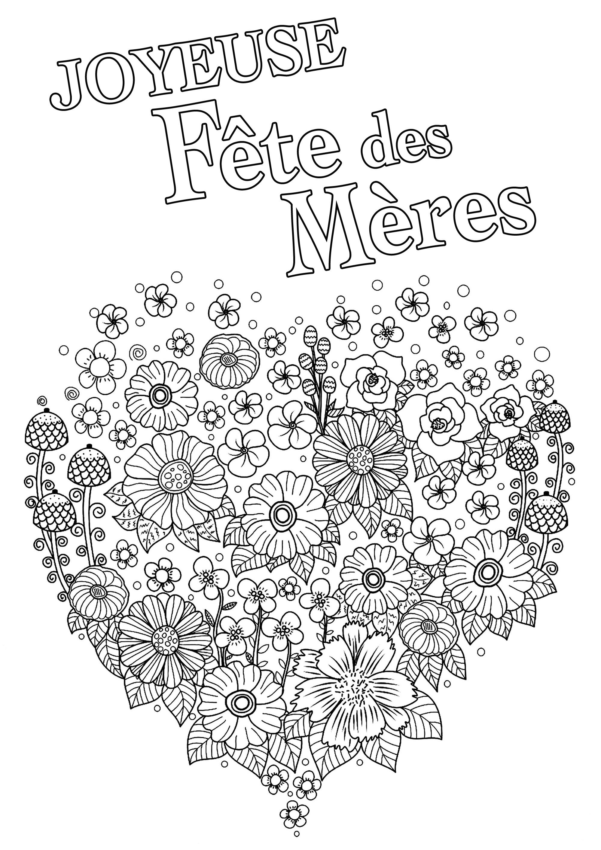 Coloriage fête des mères : Joli coeur plein de fleurs