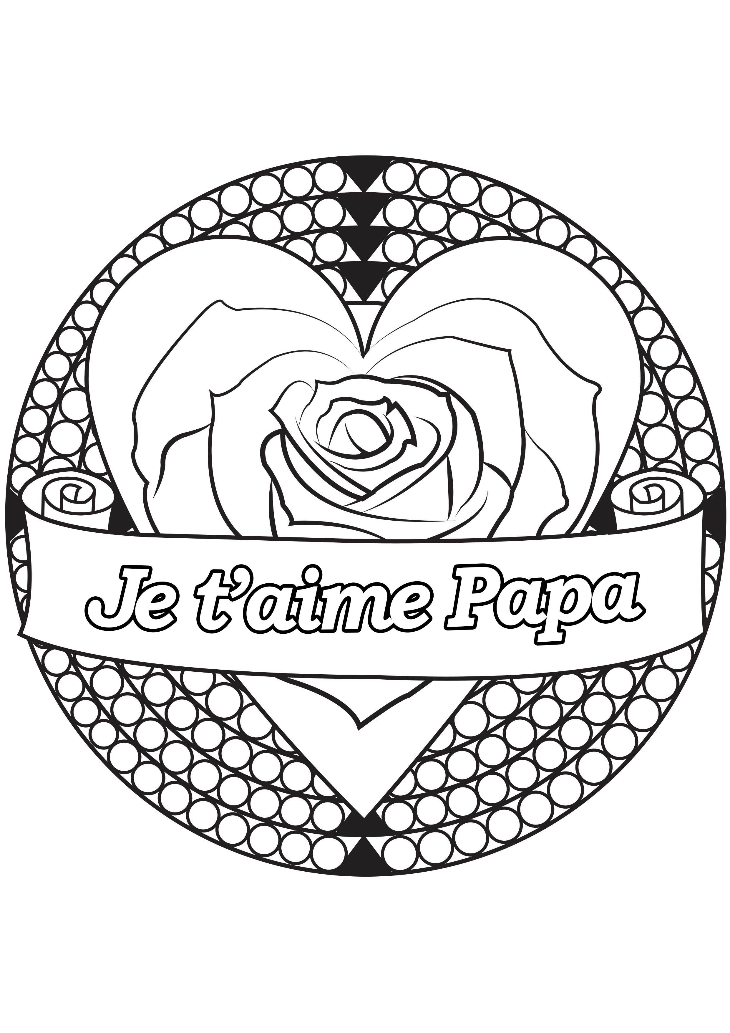 Coloriage spécial Fête des pères : Coeur & rose - 1