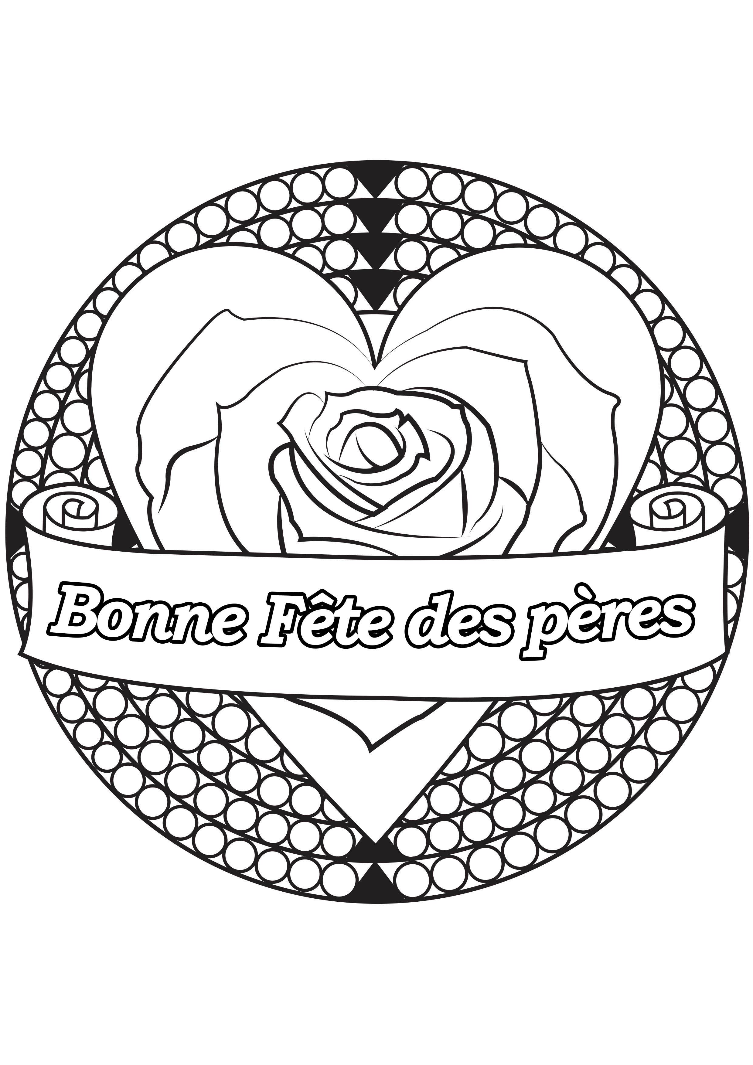 Coloriage spécial Fête des pères : Coeur & rose - 2