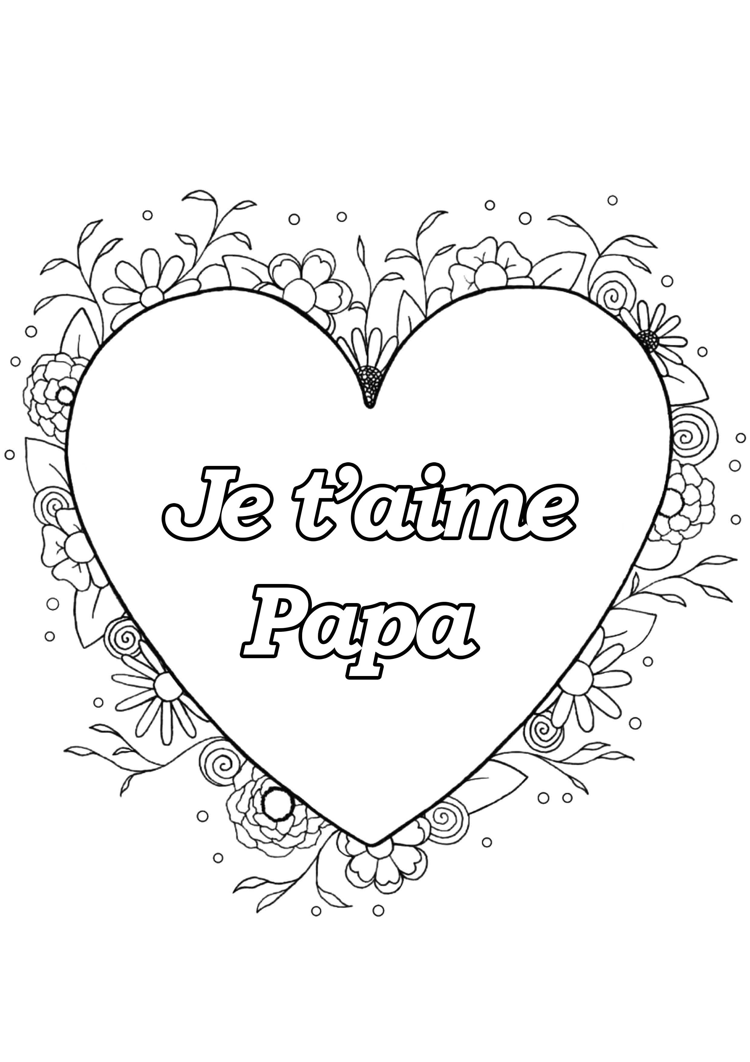 Coloriage spécial Fête des pères : Coeur & fleurs - 2