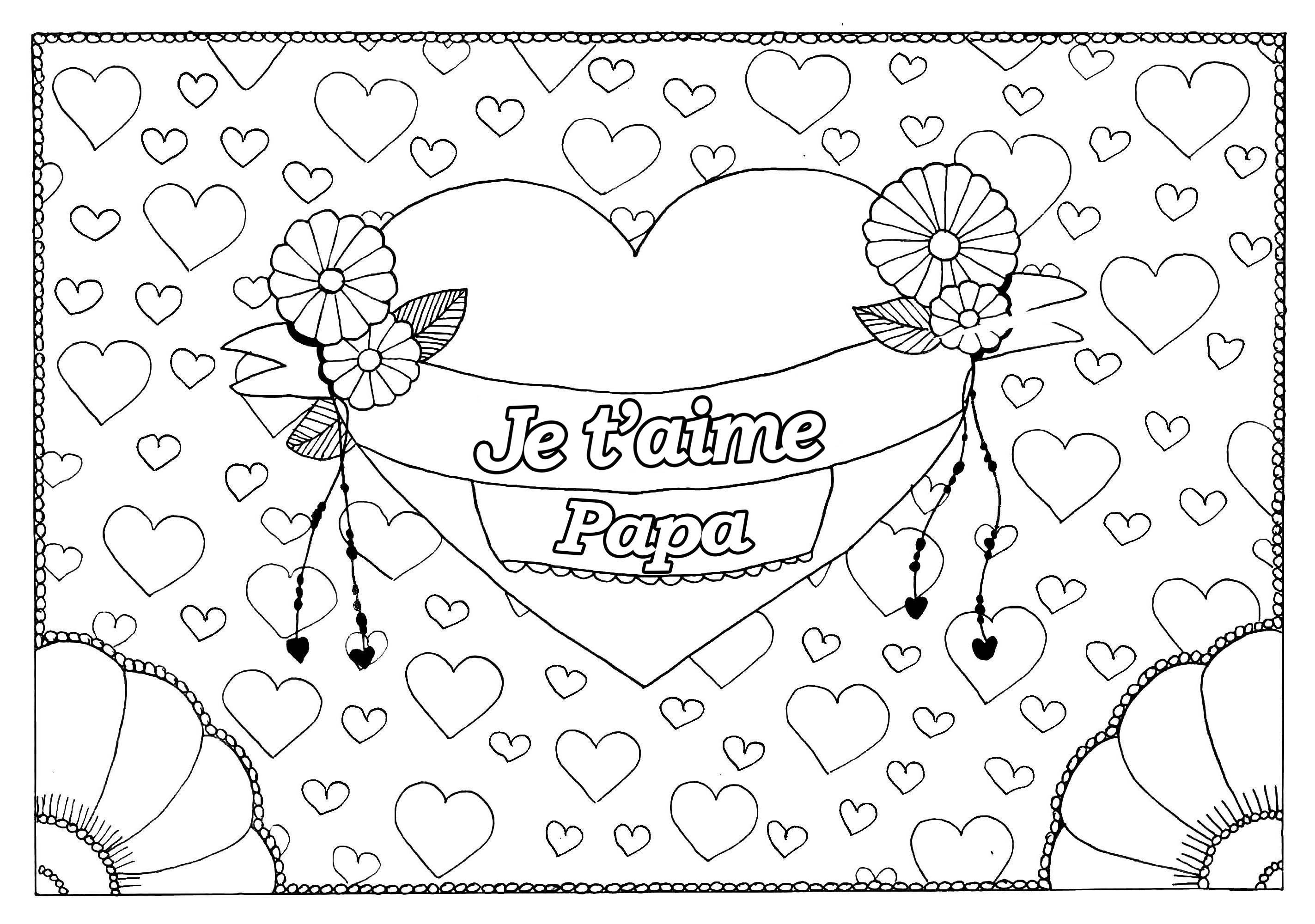 Coloriage spécial Fête des pères : Gros coeur et petits coeurs - 1