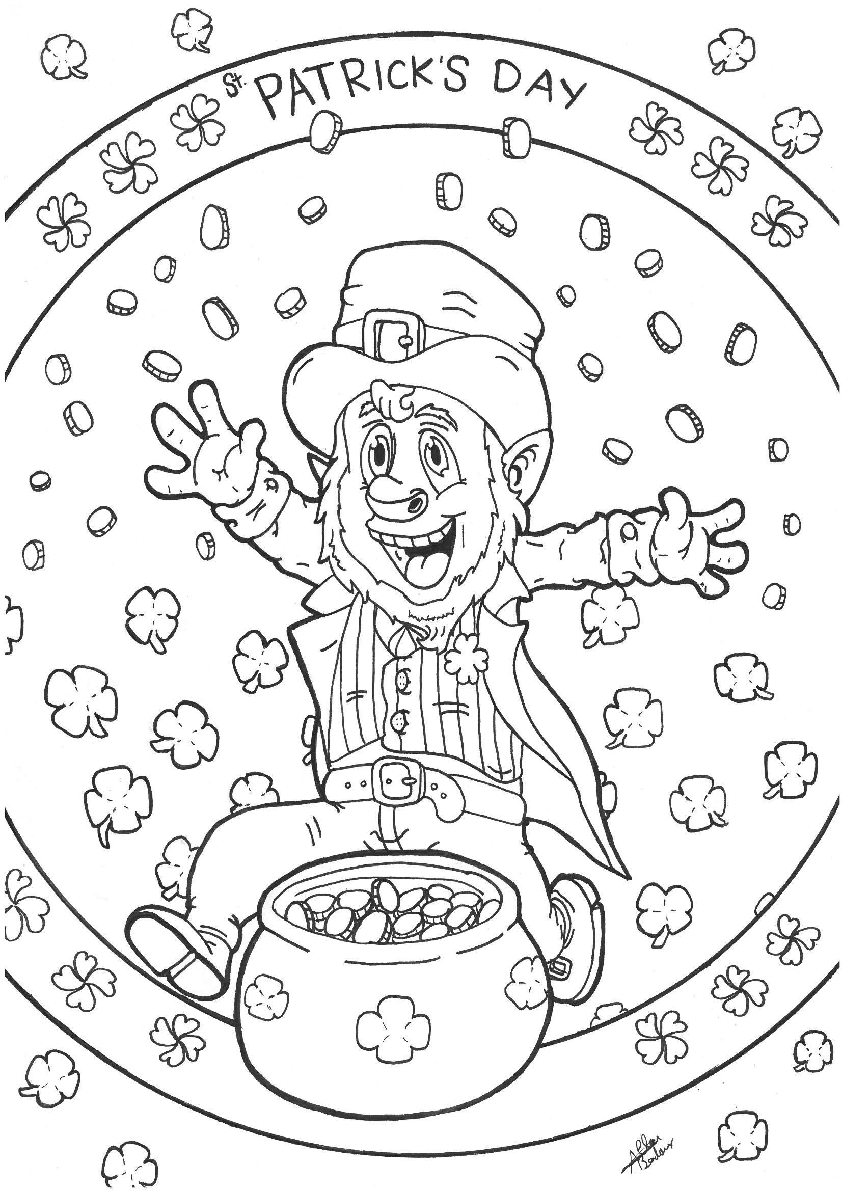Coloriage d un Leprechaun célébrant la Saint Patrick s Day avec son chaudron rempli de pi¨ces