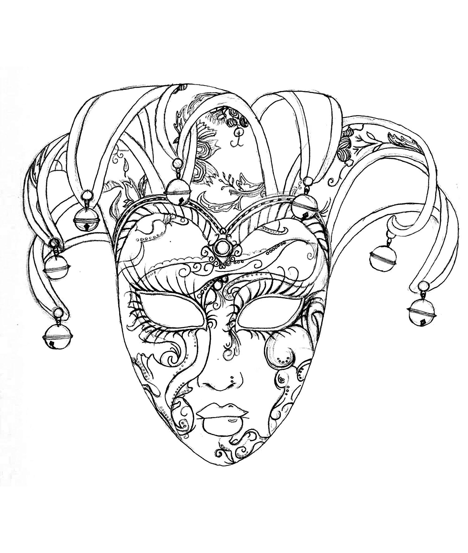 Masque du carnaval de venise f tes coloriages difficiles pour adultes - Masque de carnaval de venise a imprimer ...