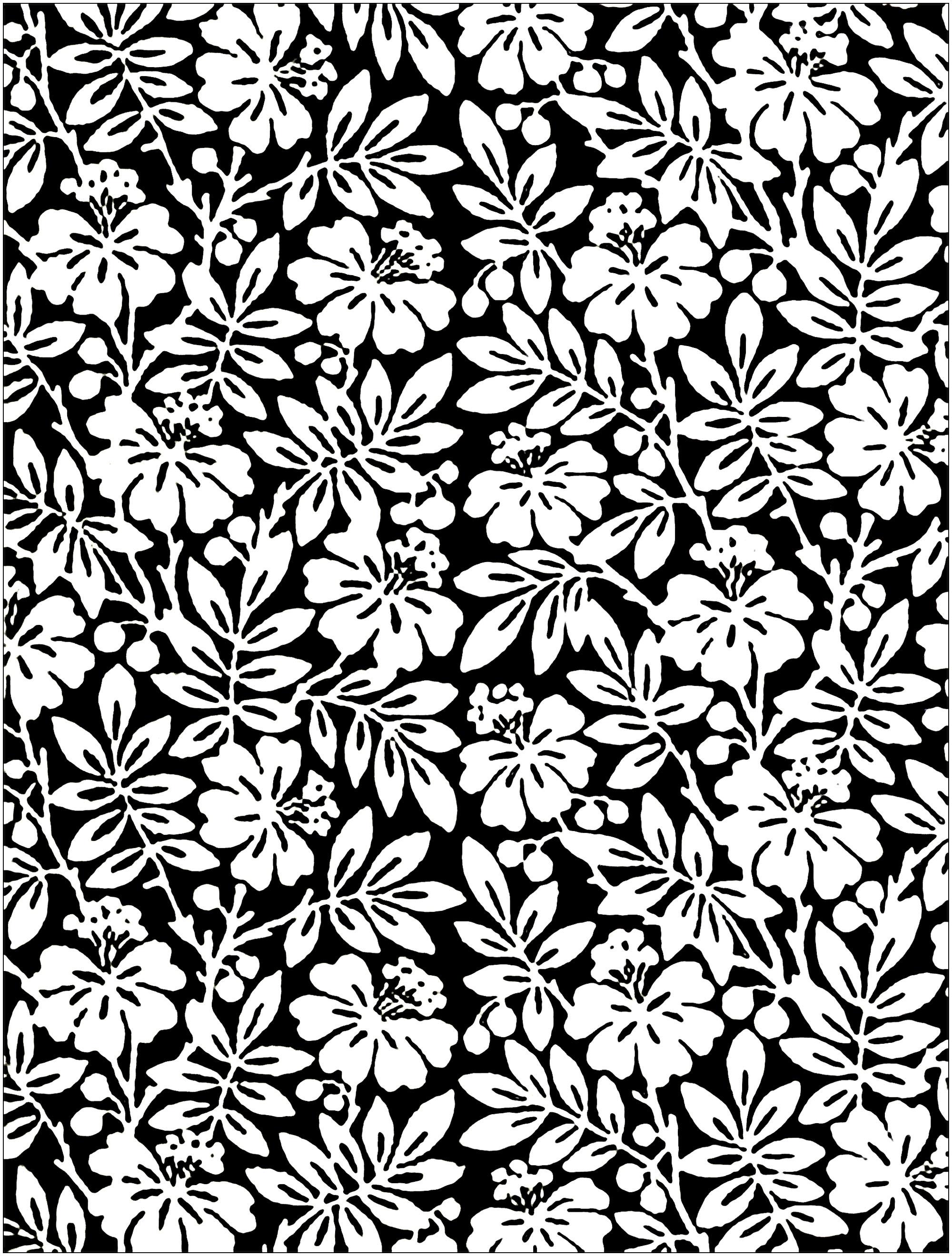 Coloriage composé de fleurs sur fond noir, créé à partir d'un papier peint anglais du 19e siècle