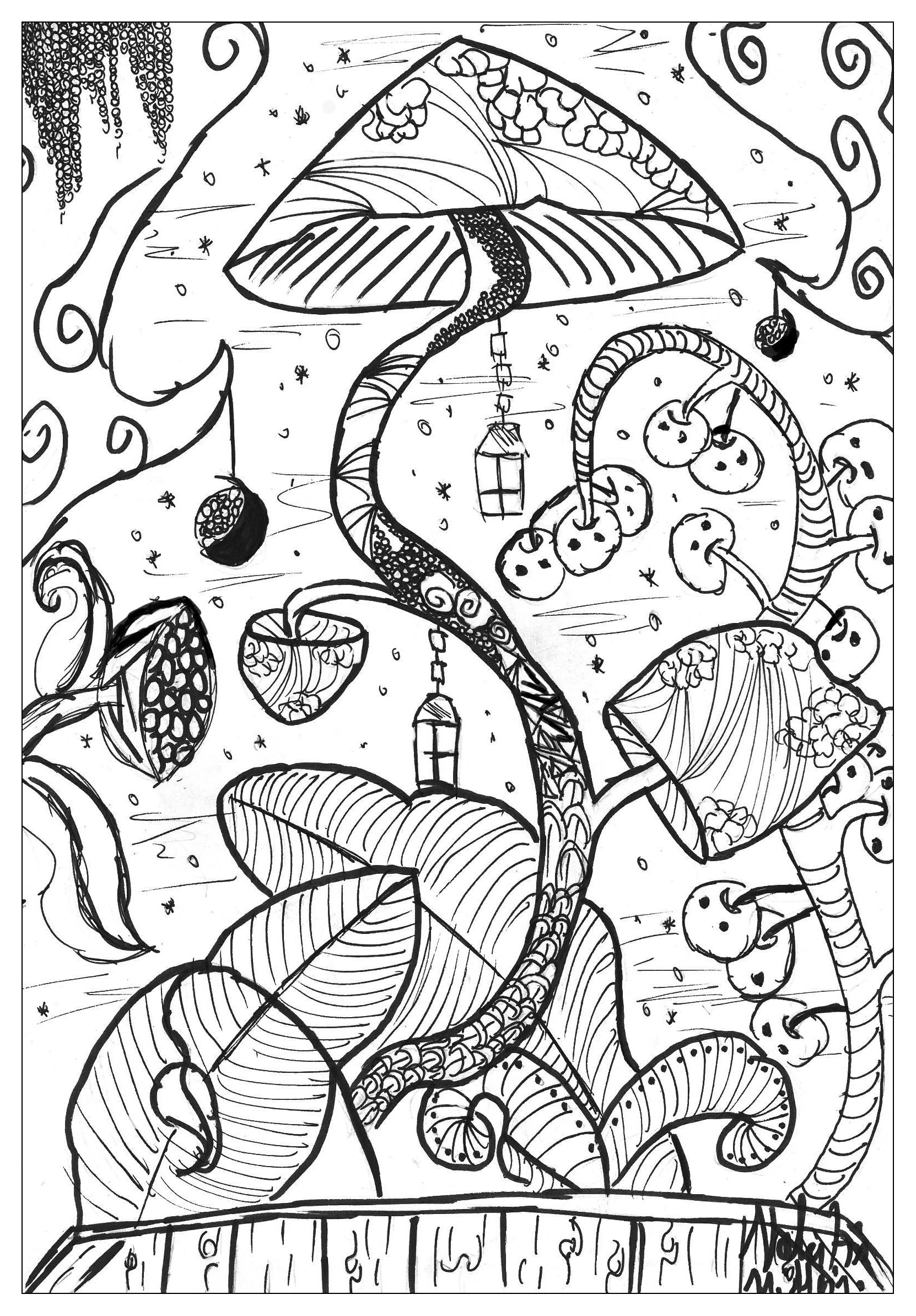 Coloriage adulte nature champignon valentin
