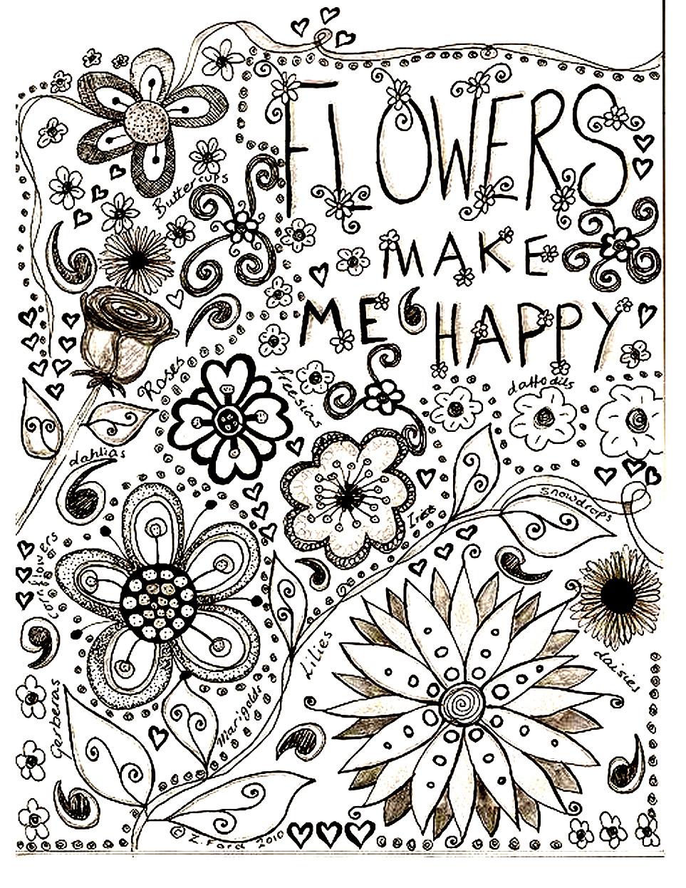 Un superbe dessin de fleurs et motifs végétaux à colorier sans plus tarder