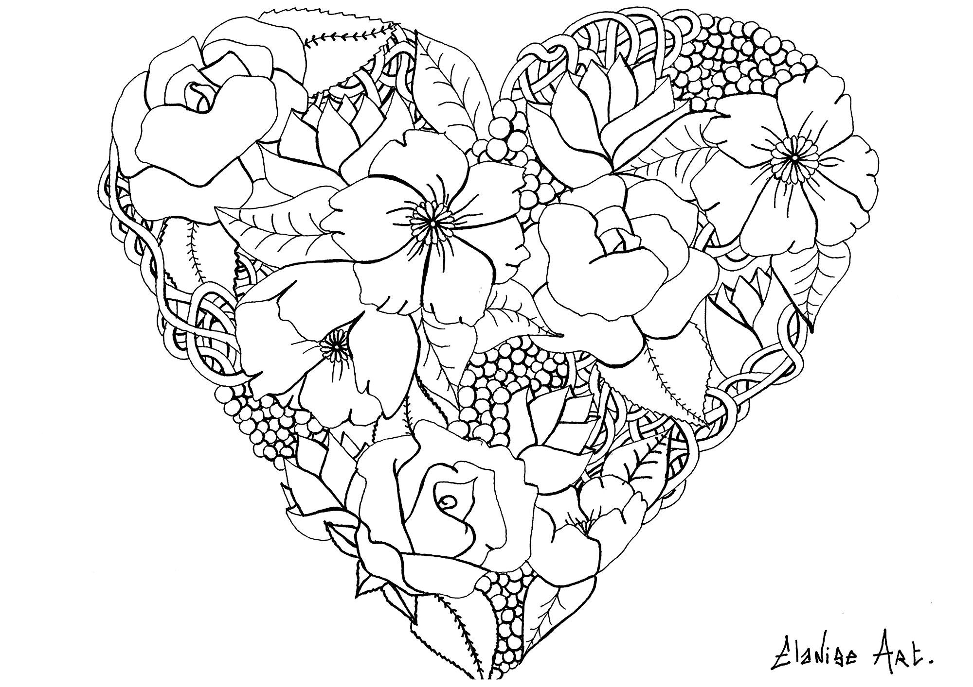 coloriage adulte elanise art coeur fleuri free to print