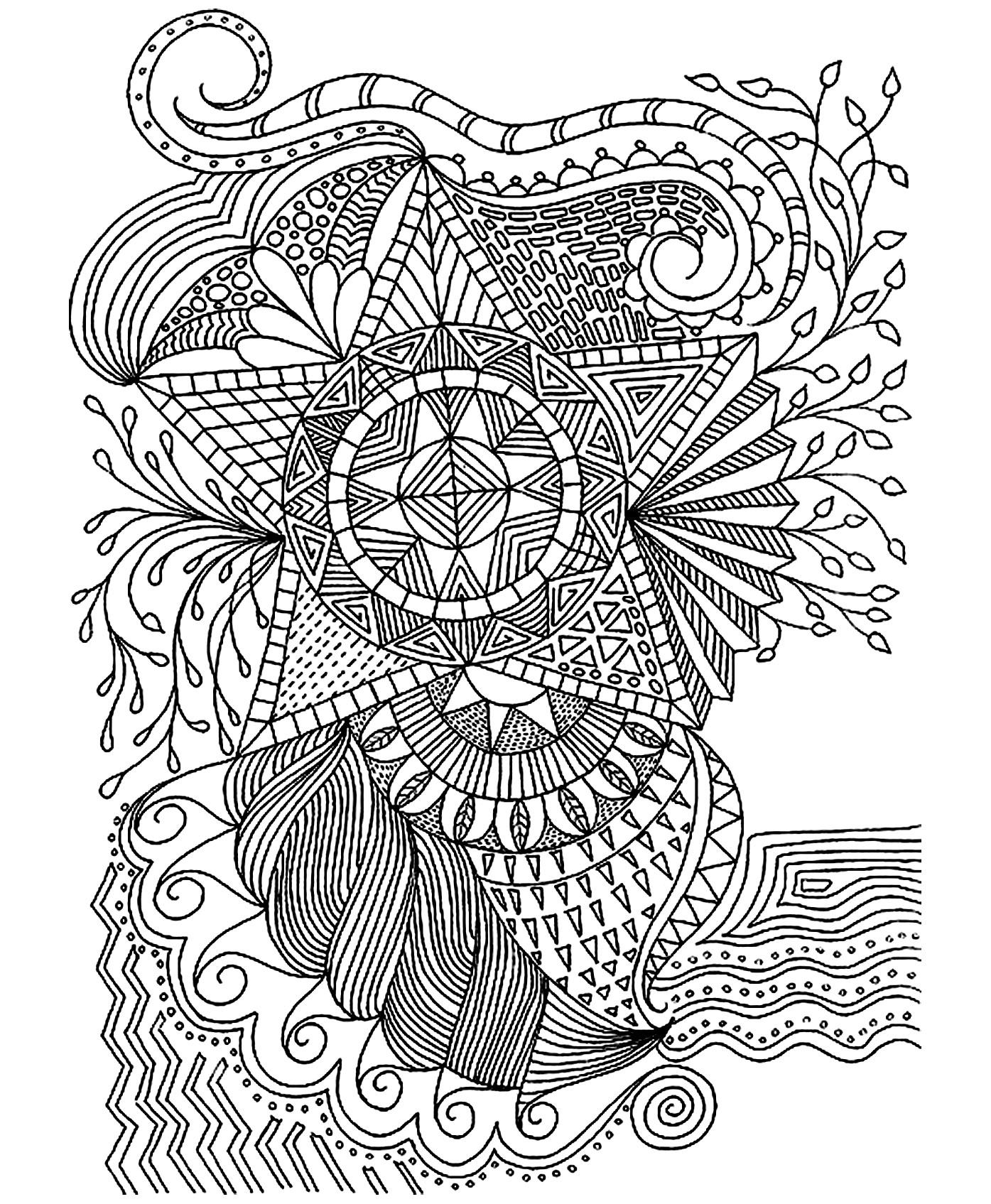 Fleurs etoile fleurs et v g tation coloriages - Site de coloriage gratuit ...