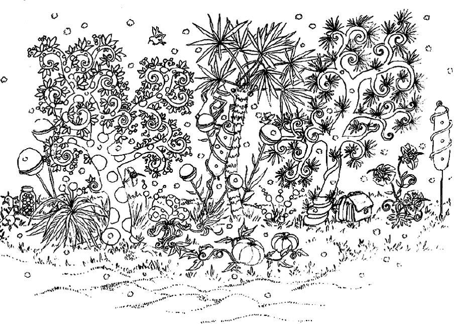 Jardin fleurs et v g tation coloriages difficiles pour for Jardin dessin