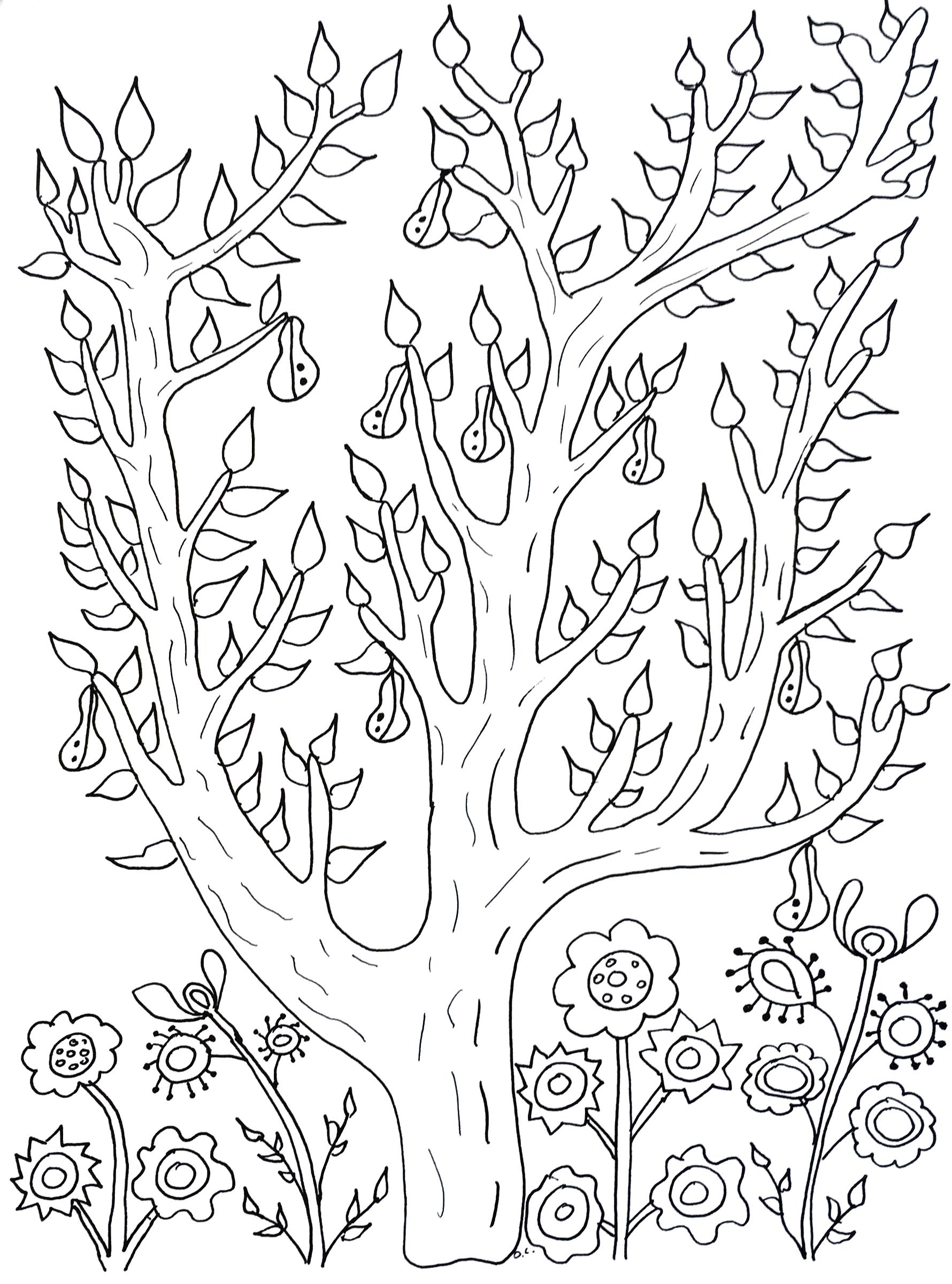 Coloriage Arbre Dolive.Joli Poirier Fleurs Et Vegetation Coloriages Difficiles Pour Adultes