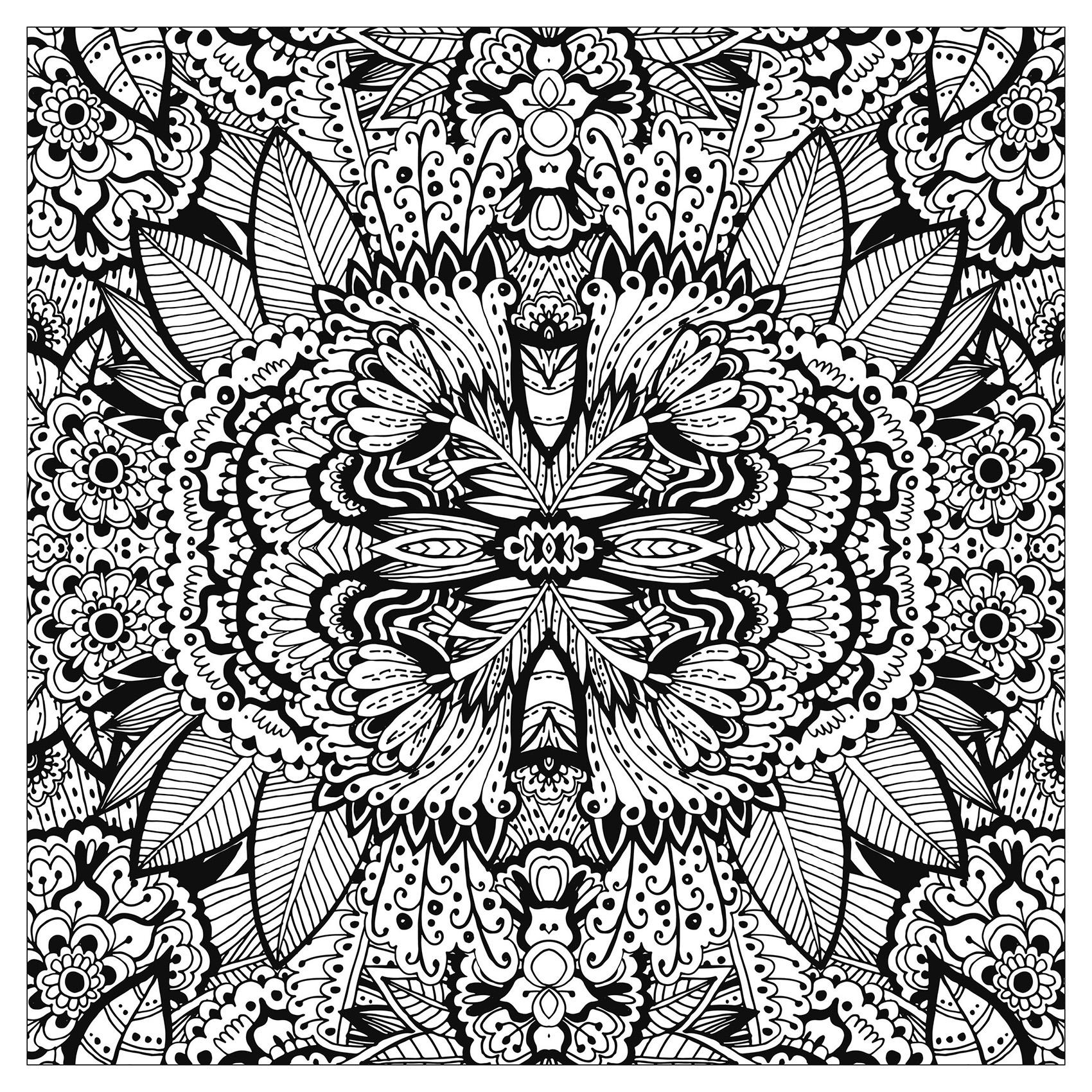 Tapis de fleurs tres complexe carre