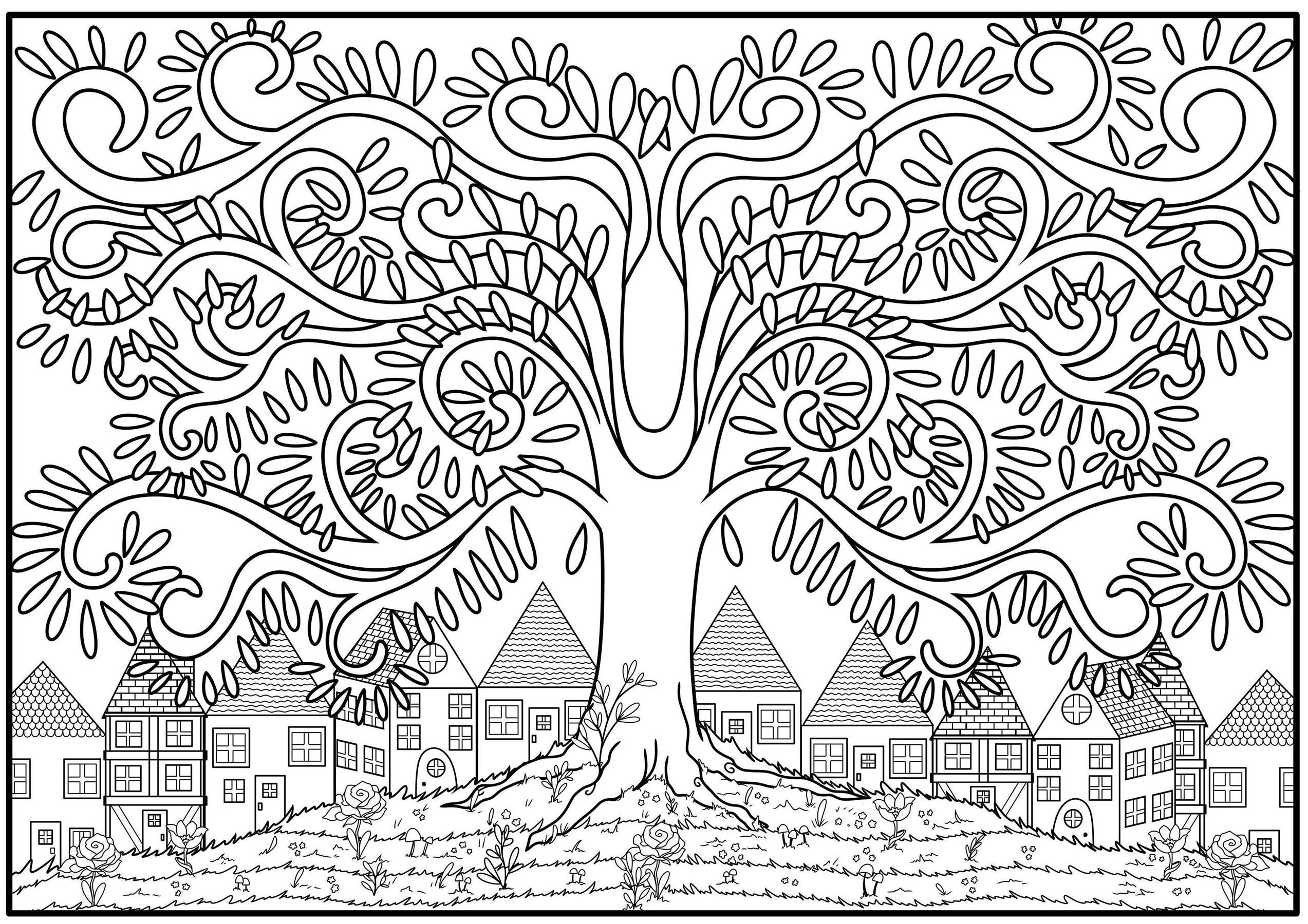 Coloriage d'un arbre aux branches en arabesques, sur le haut d'une colline fleurie avec des maisons en arrières-plan.
