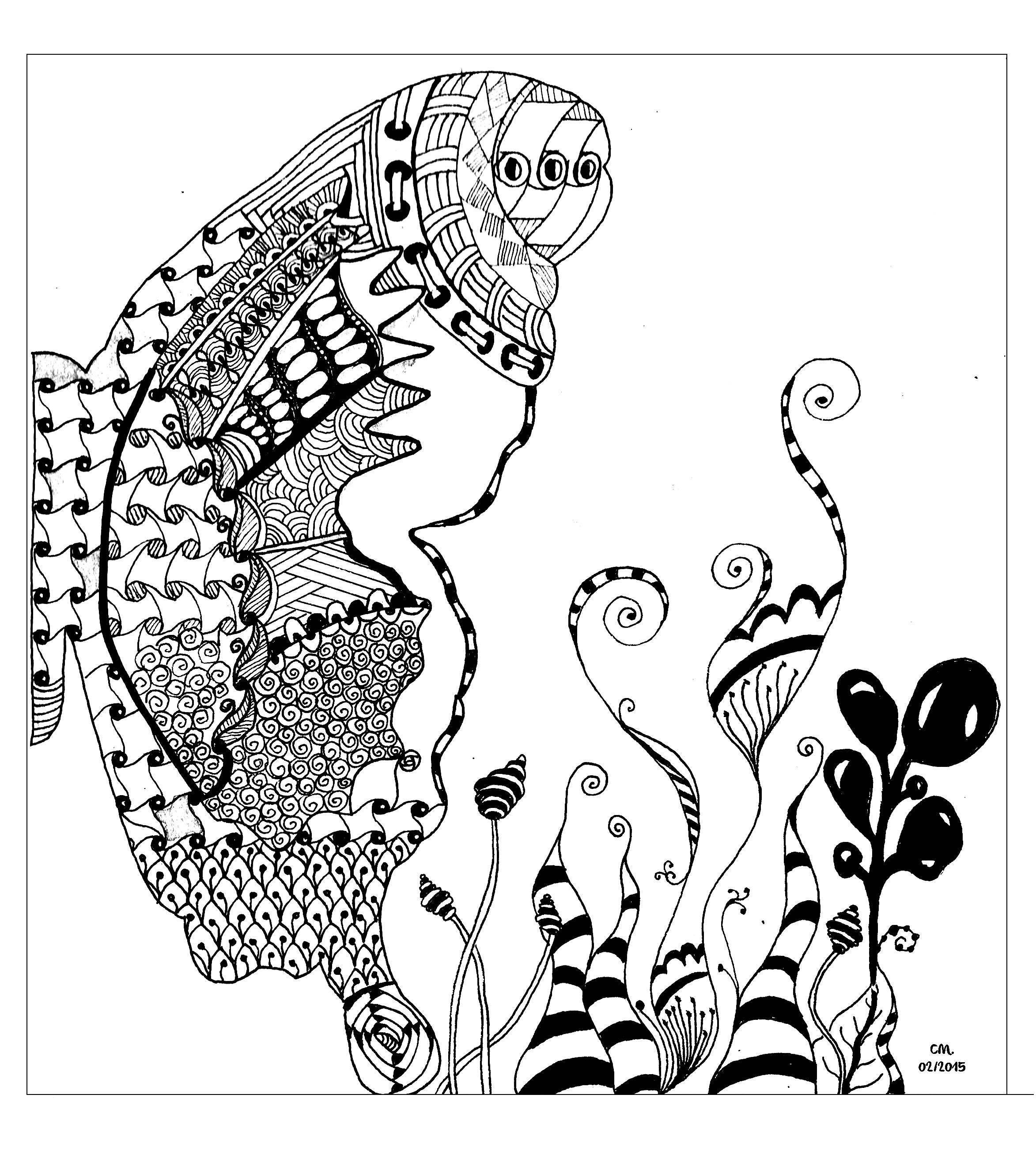 'Butterfly', coloriage original  Voir l'oeuvre originale