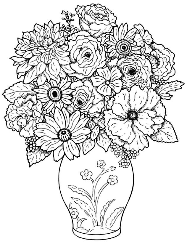 Coloriage Dun Bouquet De Fleurs.Bouquet Fleurs Et Vegetation Coloriages Difficiles Pour Adultes