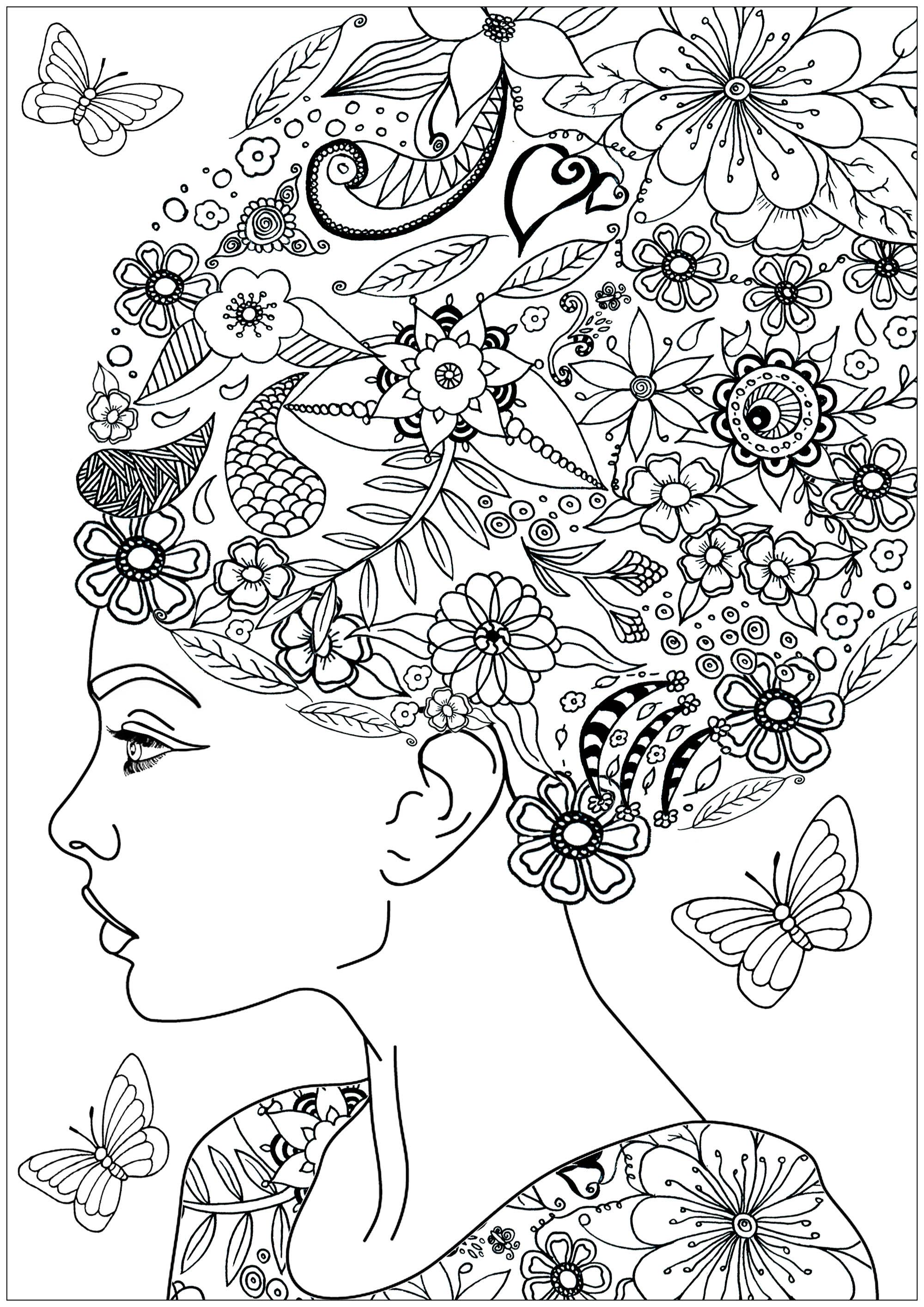 Coloriez les belles fleurs et feuilles dans les cheveux de cette femme ... ainsi que les papillons qui volent autour d'elle