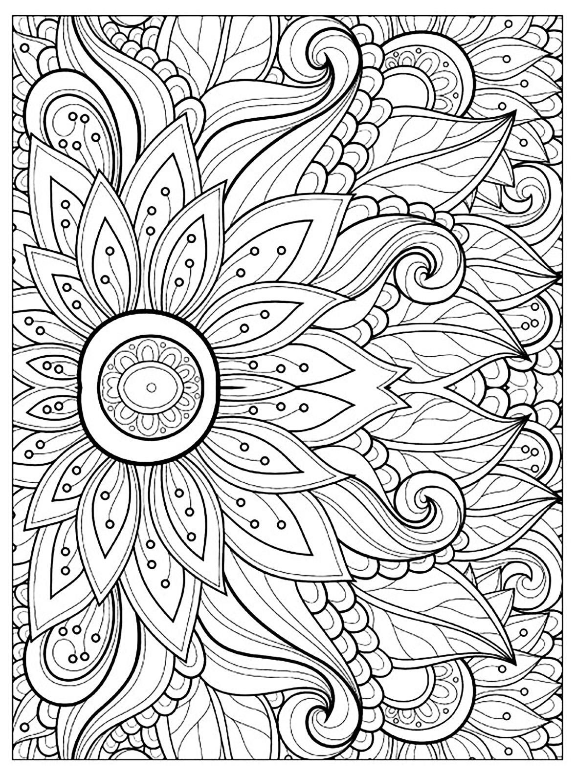 Coloriage Fleur.Fleur Multiples Petales Fleurs Et Vegetation Coloriages
