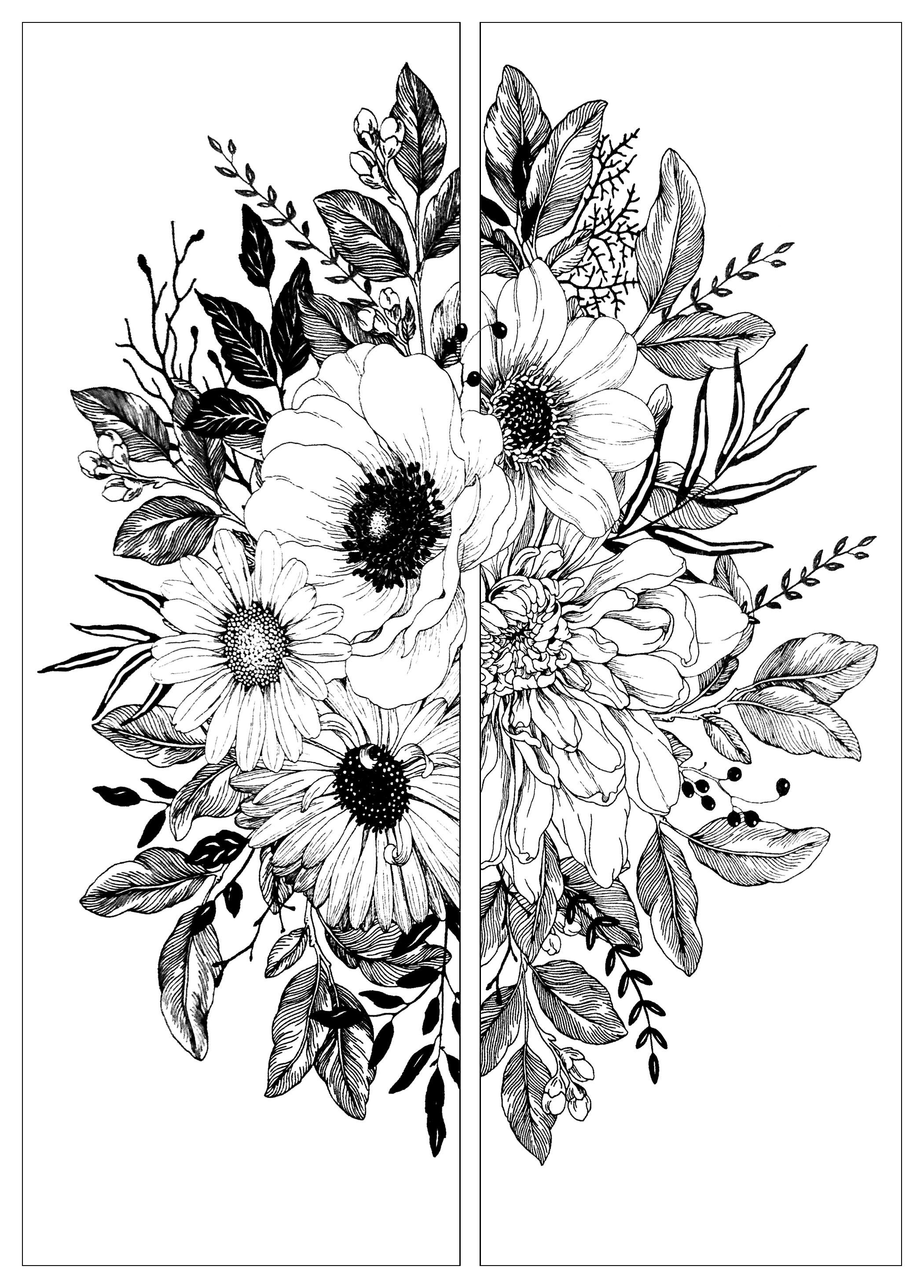 Bouquet De Fleurs En Deux Fleurs Et Vegetation Coloriages