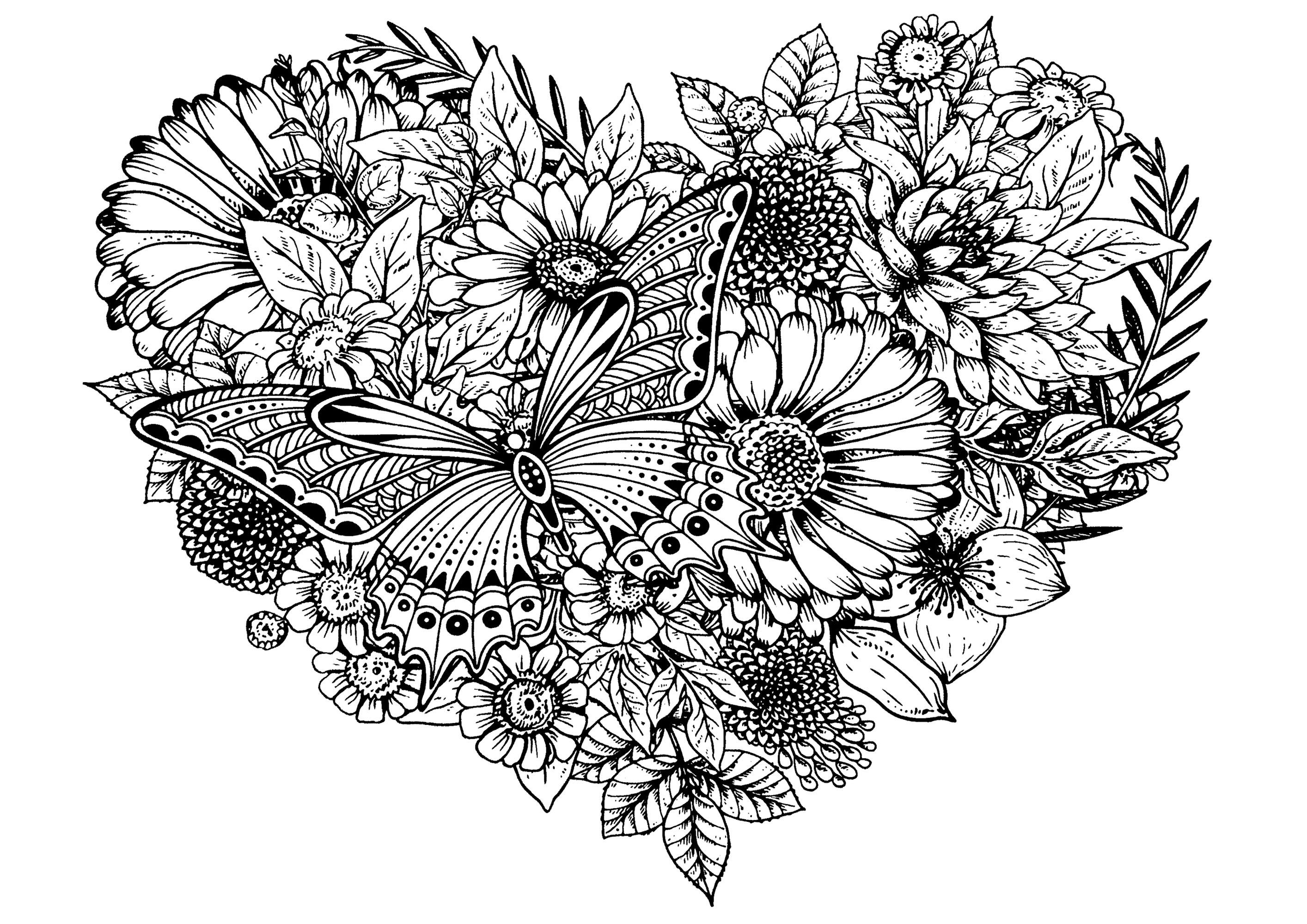 Dans ce coeur vous devrez colorier des fleurs, des feuilles et un magnifique papillon