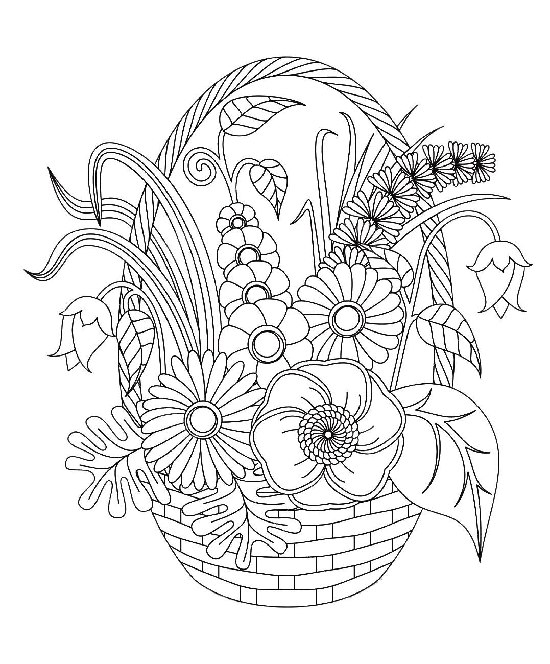 Fleurs variees dans un panier fleurs et v g tation - Coloriages adultes ...