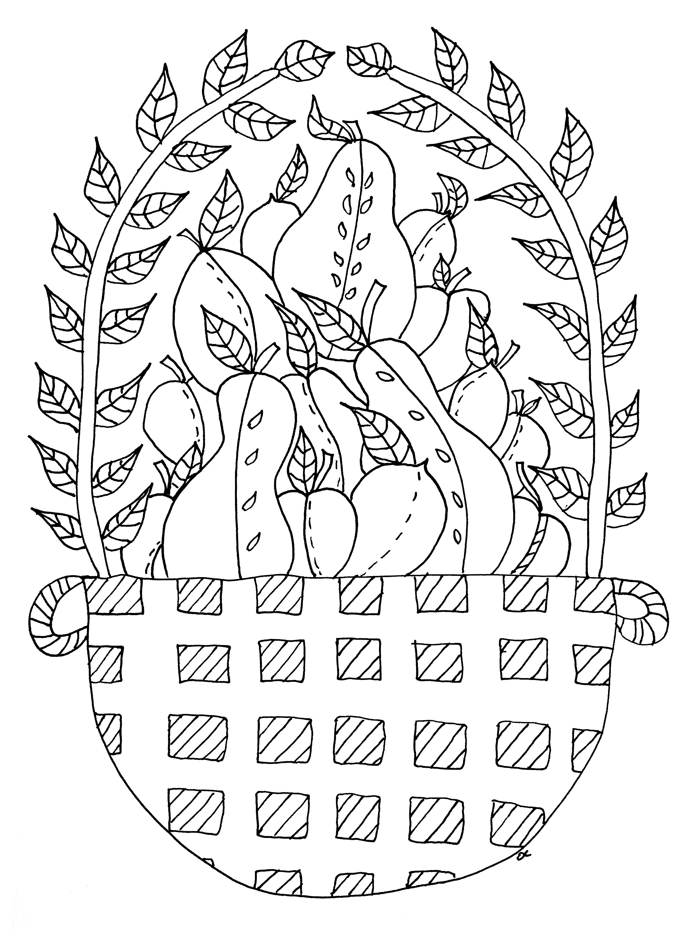 coloriage panier de fruits free to print