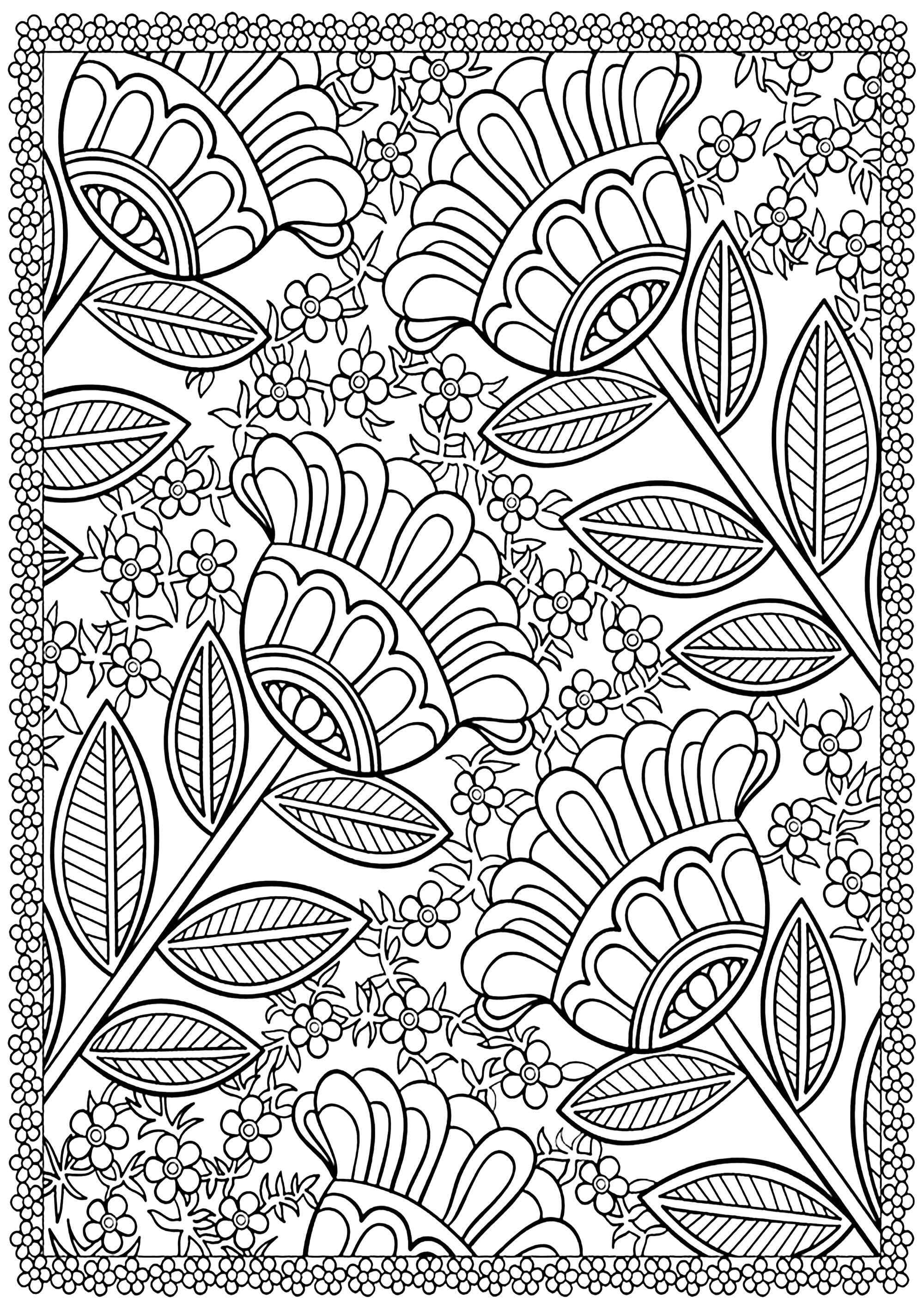 Colorez ces quatre grandes fleurs entourées de petites, avec une belle bordure fleurie