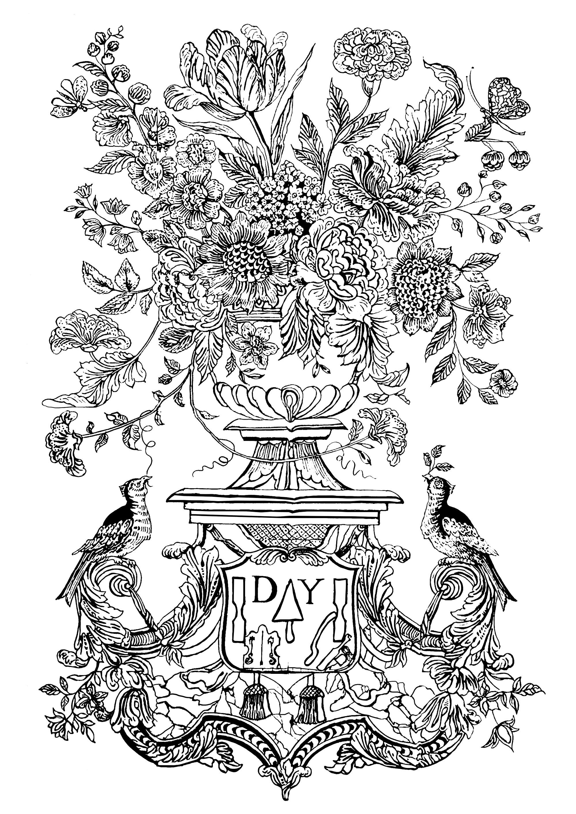 Coloriage inspiré d'une fresque murale de 1740 des Pays-Bas, avec un vase fleuri et des oiseaux