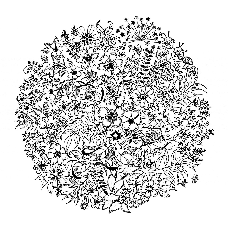 Mandala flowered fleurs et v g tation coloriages difficiles pour adultes - Coloriages mandalas fleurs ...