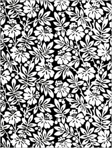 Coloriage Fleurs noir et blanc Papier peint anglais 19e siecle